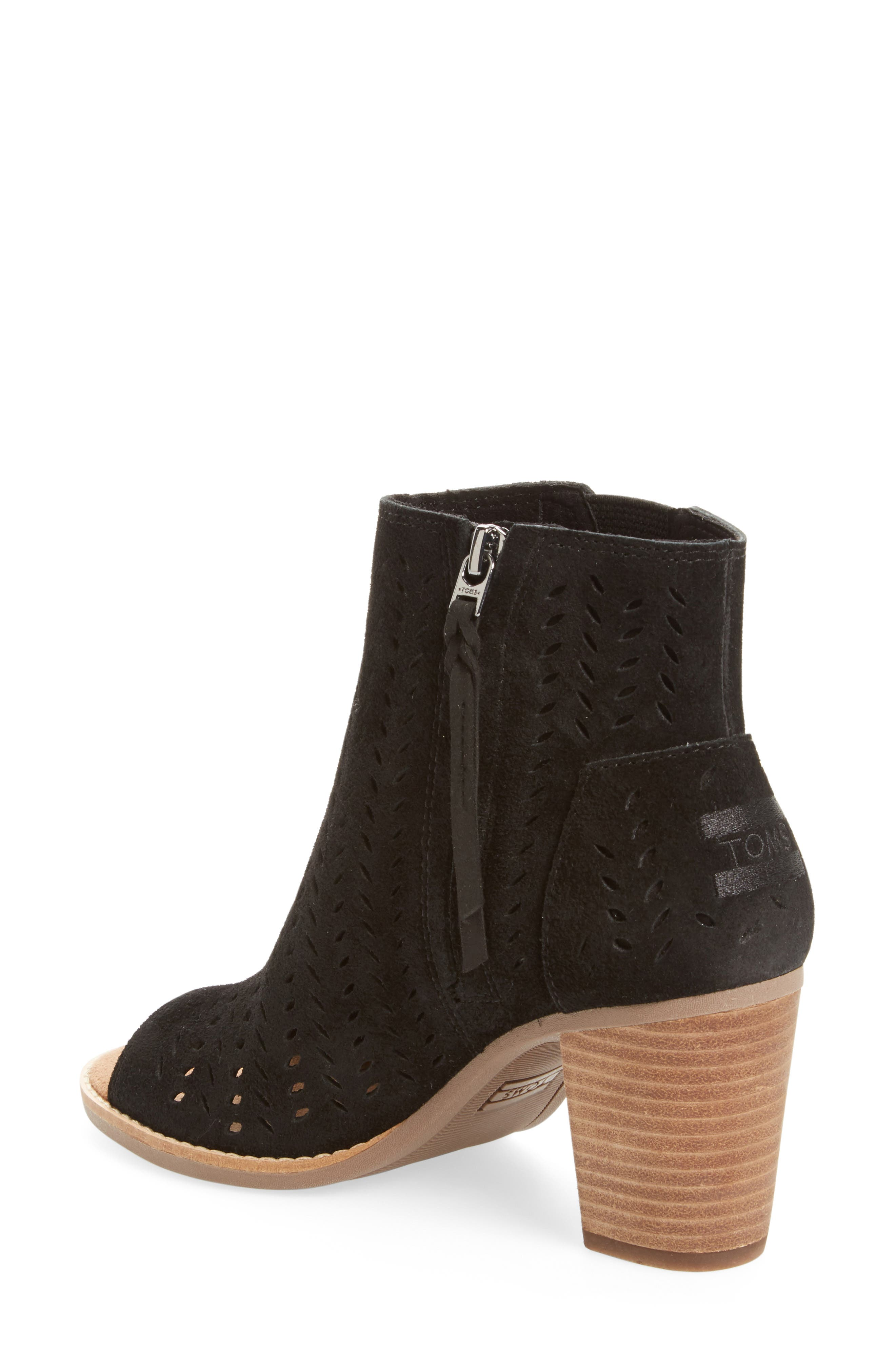 Majorca Perforated Suede Bootie,                             Alternate thumbnail 2, color,                             001
