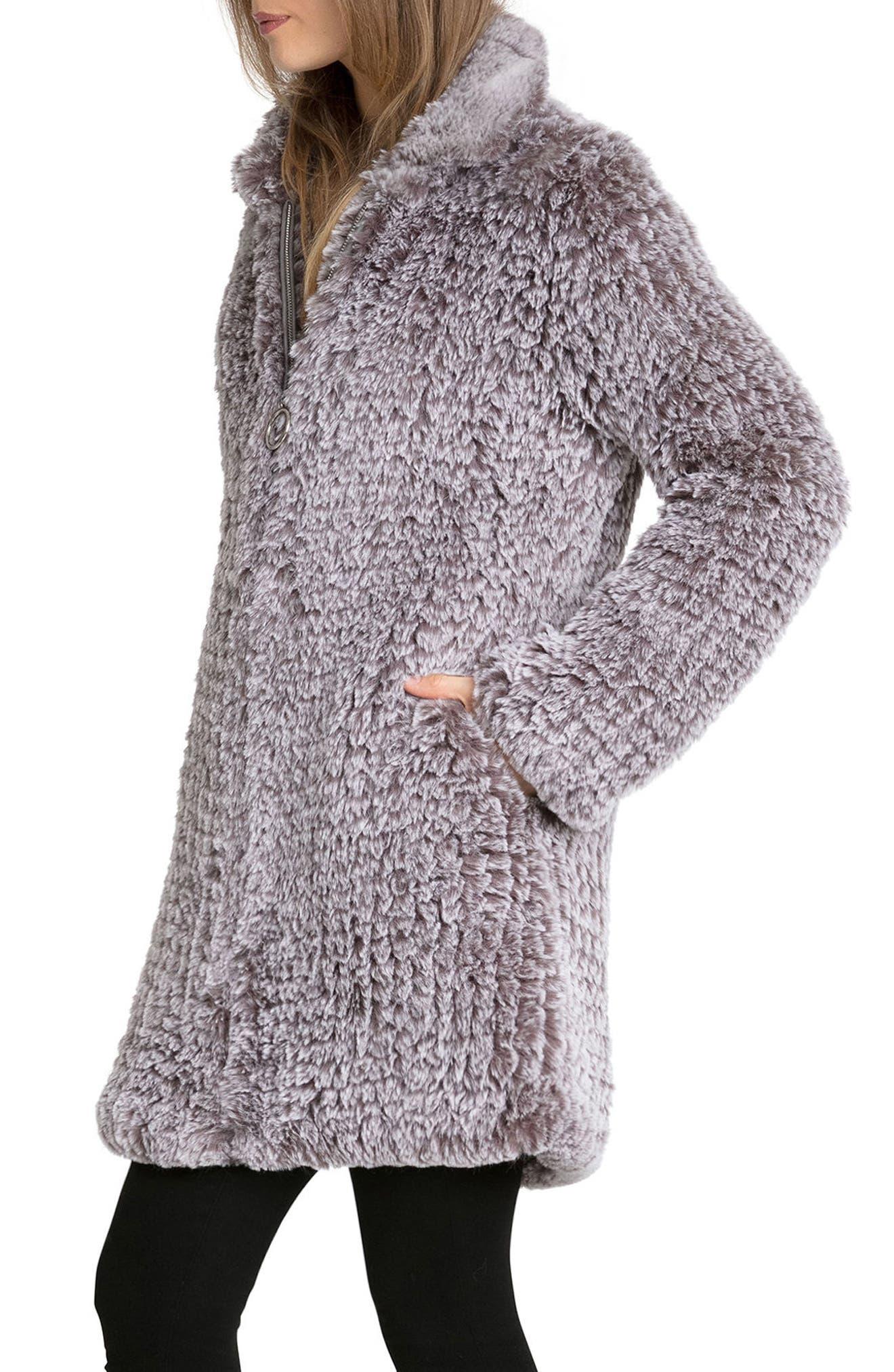 Knit Faux Fur Coat,                             Alternate thumbnail 3, color,                             022