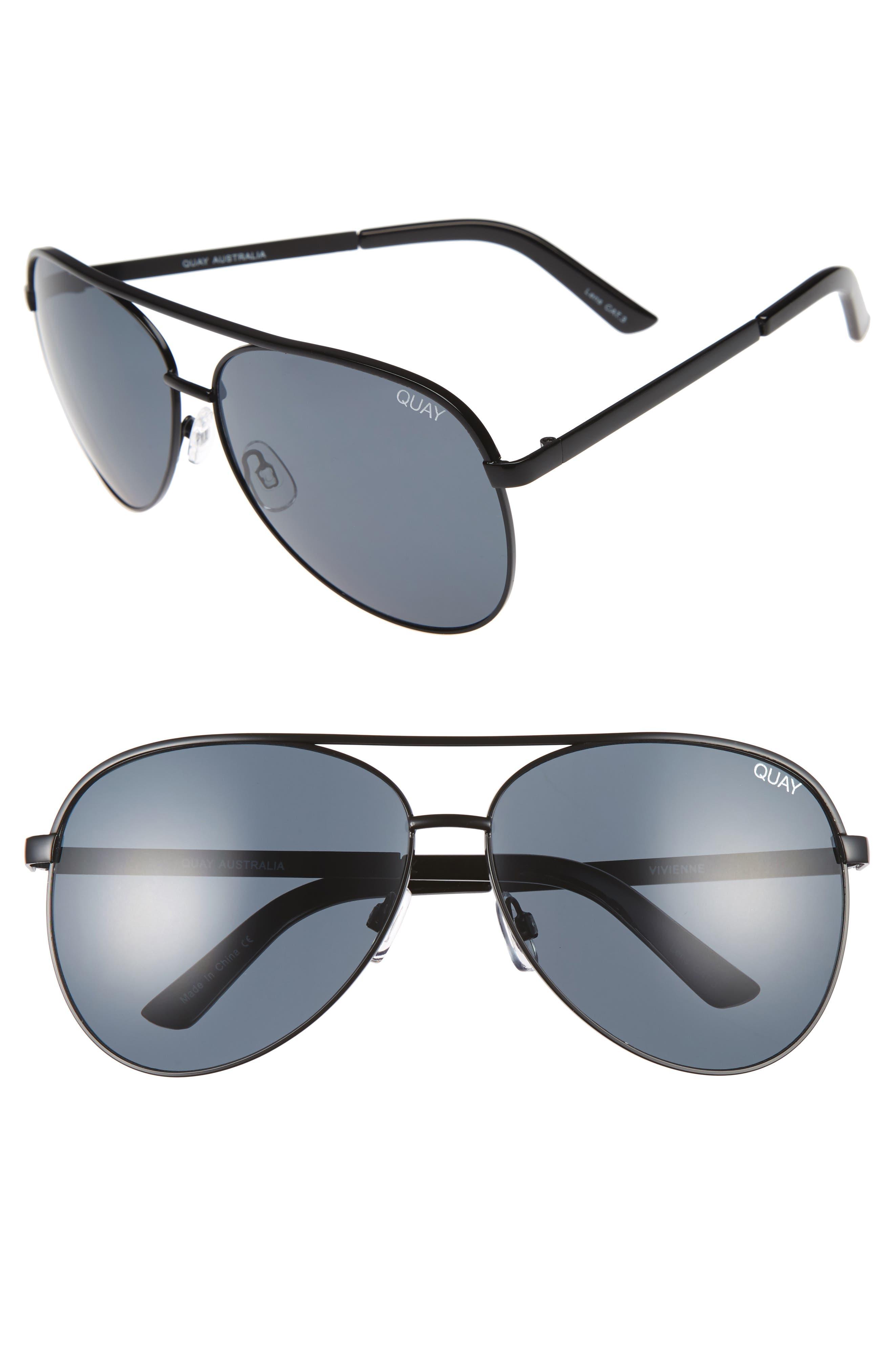 Vivienne 64mm Aviator Sunglasses,                         Main,                         color, BLACK/ SMOKE