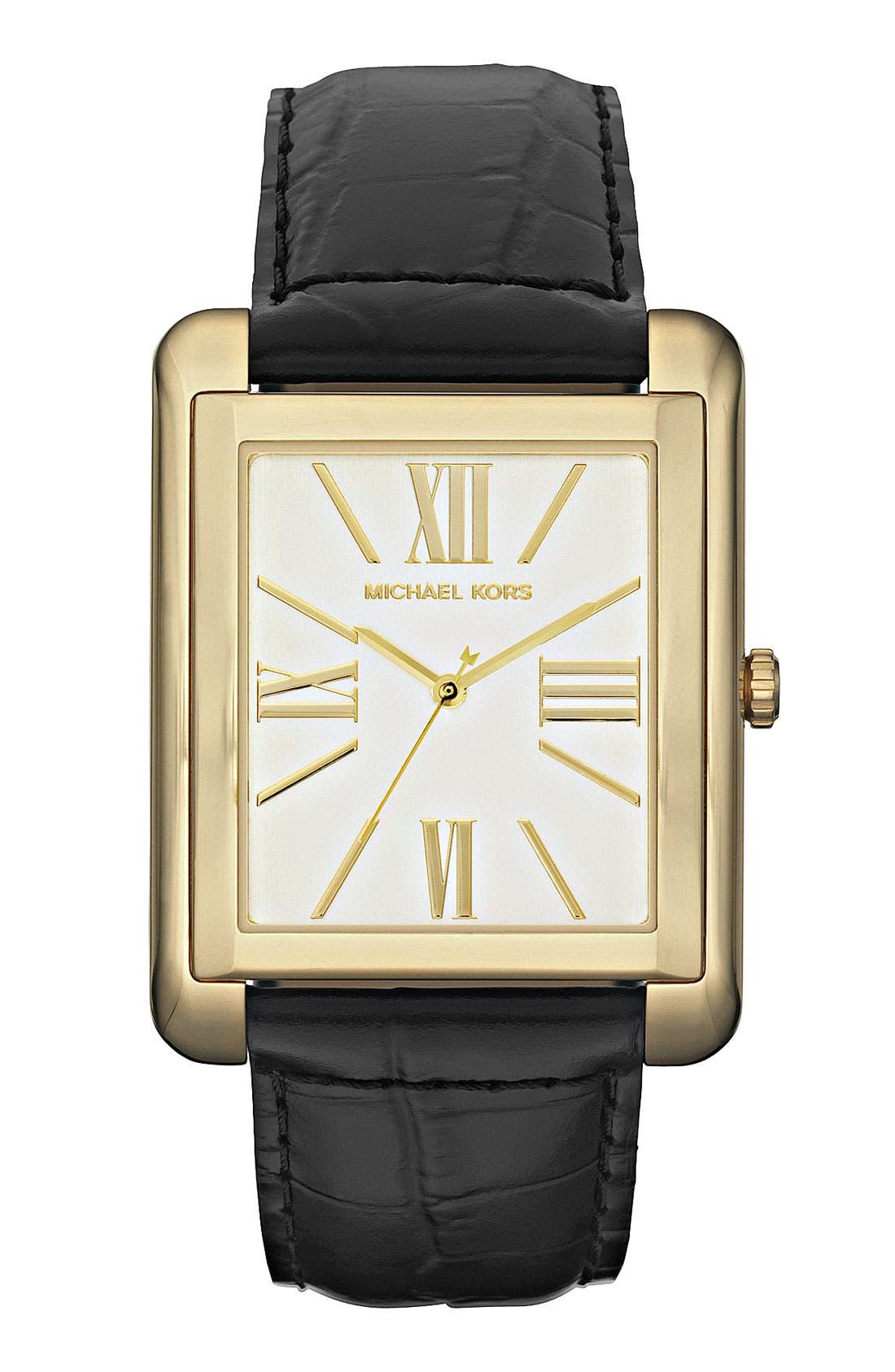 Michael Kors 'Bradley' Leather Strap Watch, Main, color, 001