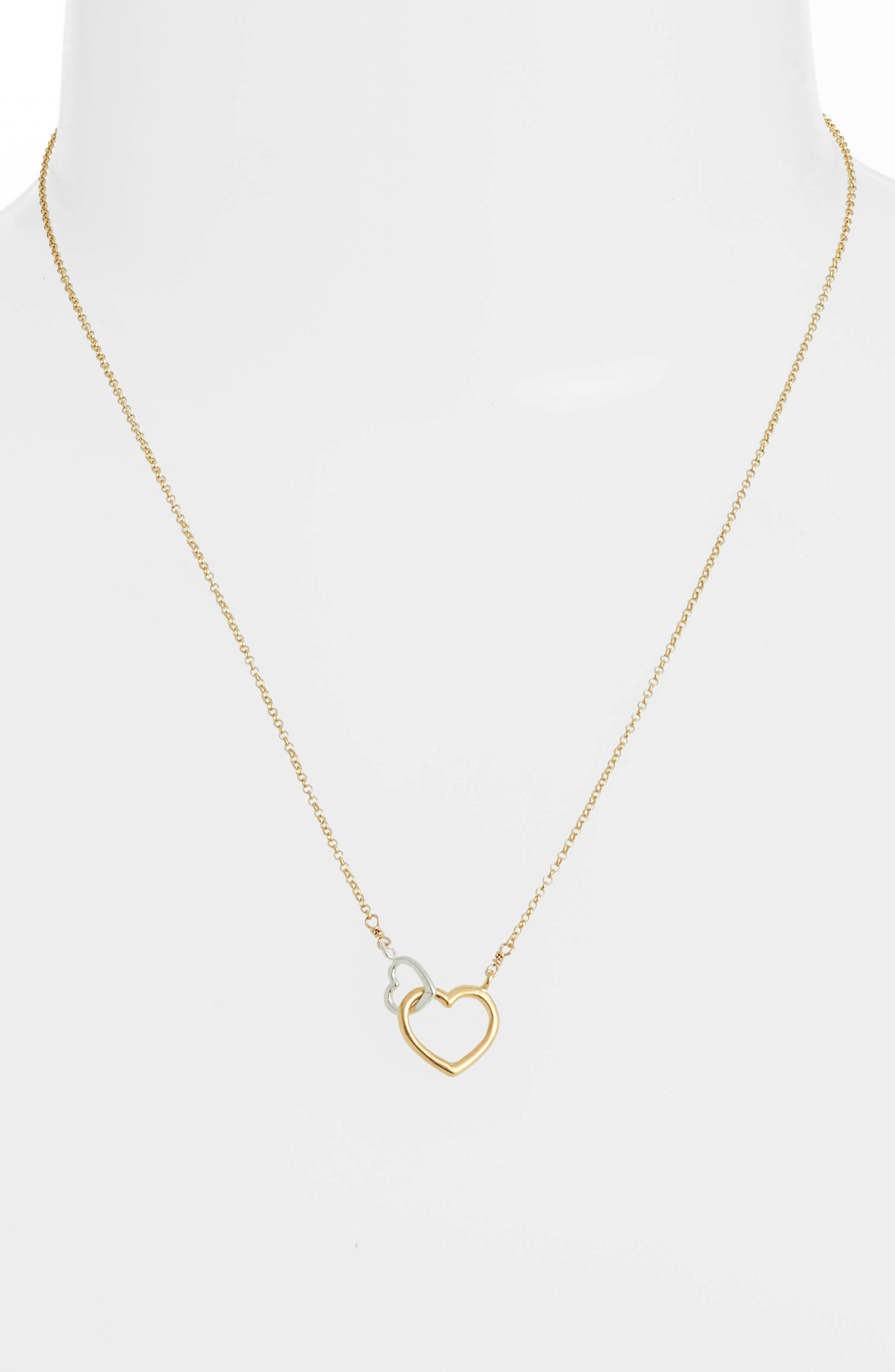 Mother + Daughter Linked Hearts Necklace,                             Alternate thumbnail 2, color,                             710