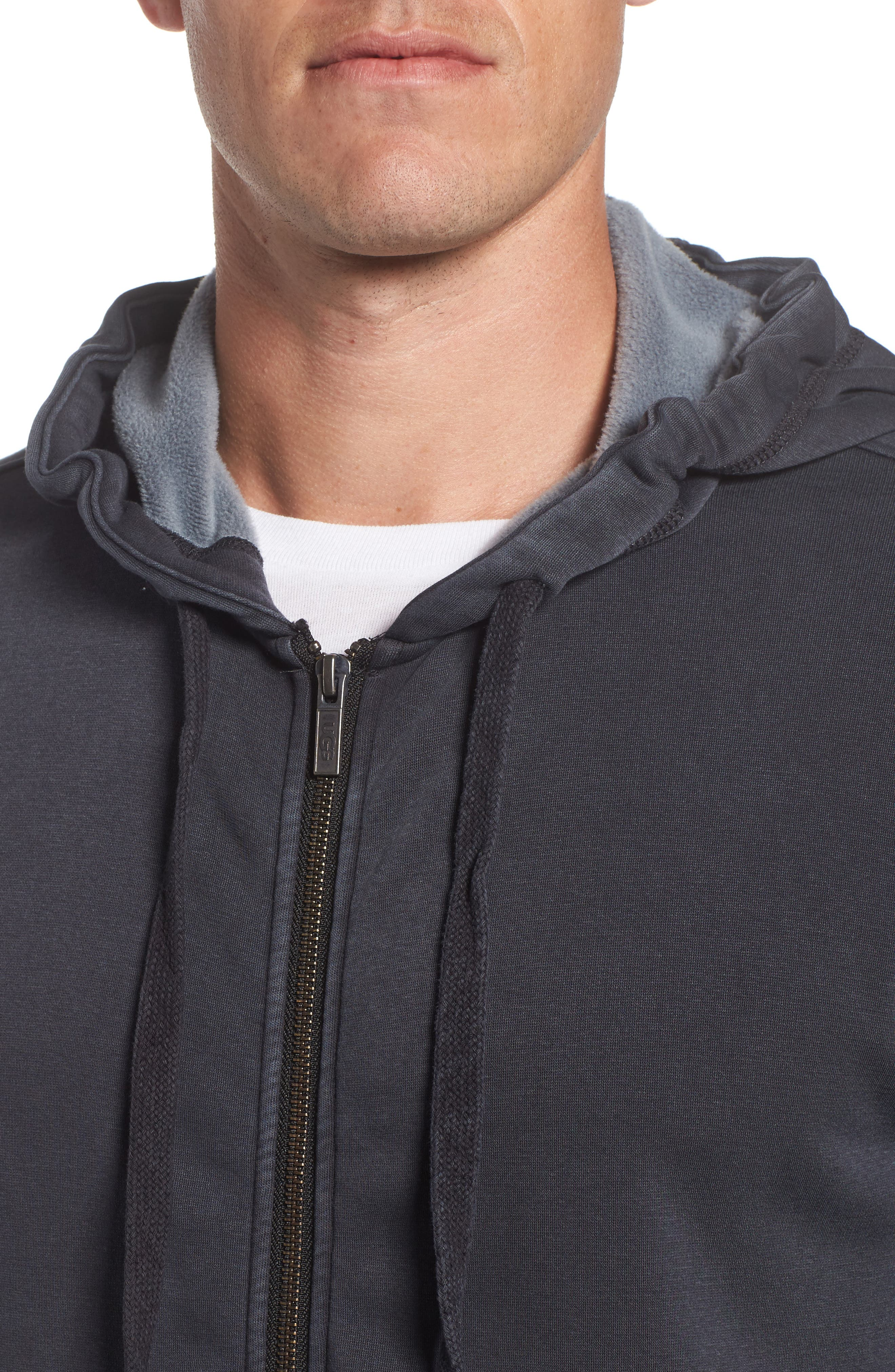 Elliot Washed Zip Hoodie,                             Alternate thumbnail 4, color,                             CHARCOAL