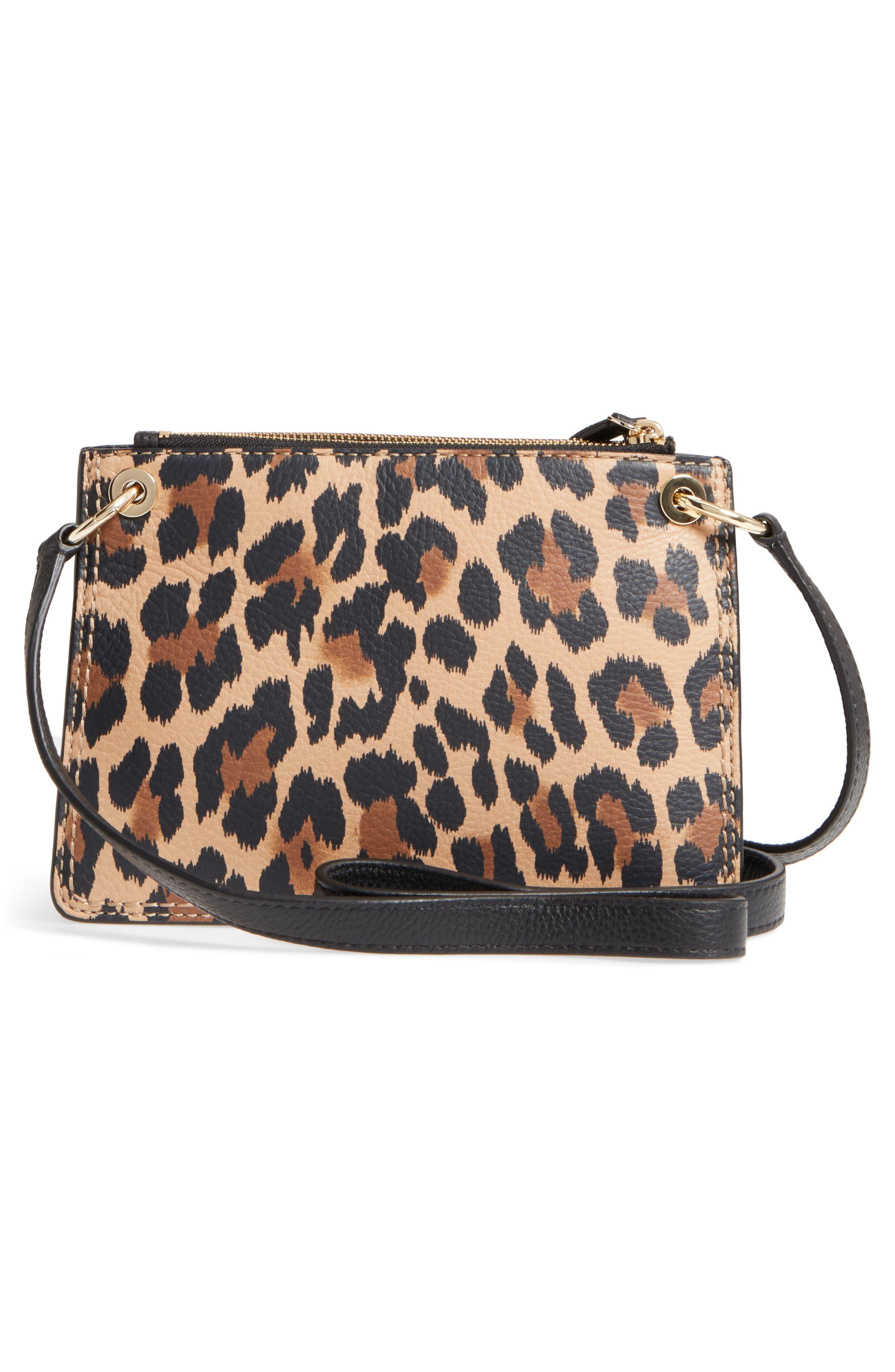 dunne lane - leopard caro leather crossbody bag,                             Alternate thumbnail 3, color,                             200