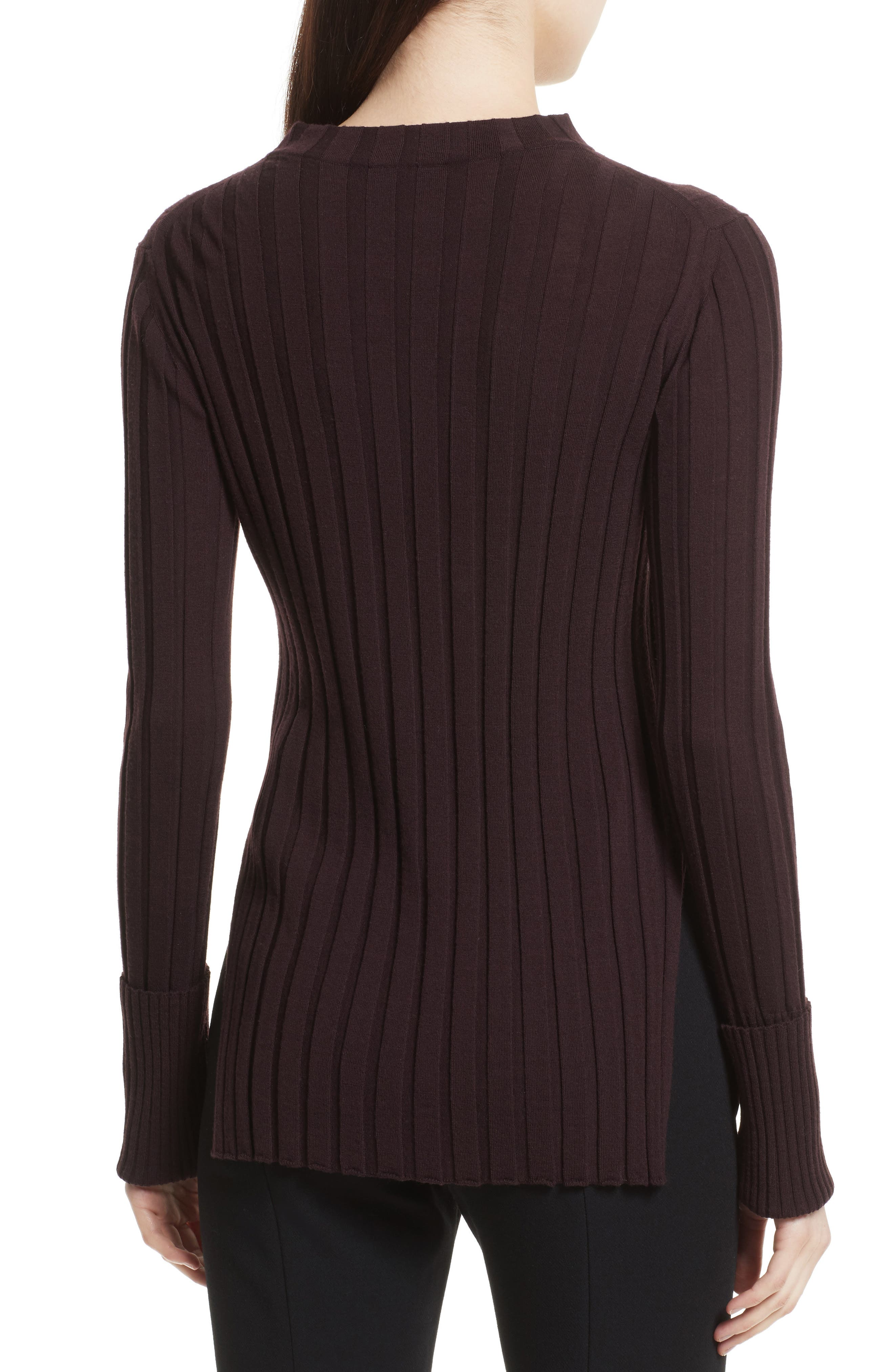 Wide Ribbed Mock Neck Wool Sweater,                             Alternate thumbnail 8, color,