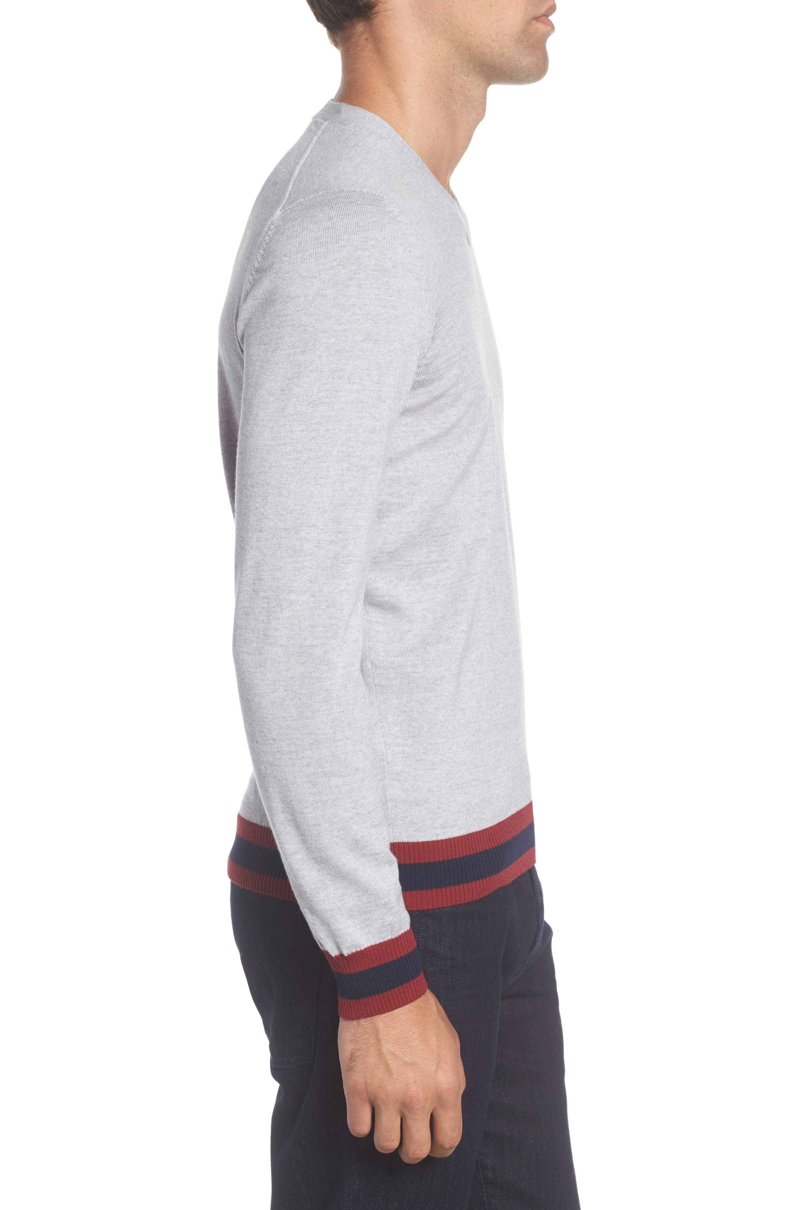 Navello Slim Fit Wool V-Neck Sweater,                             Alternate thumbnail 3, color,                             072