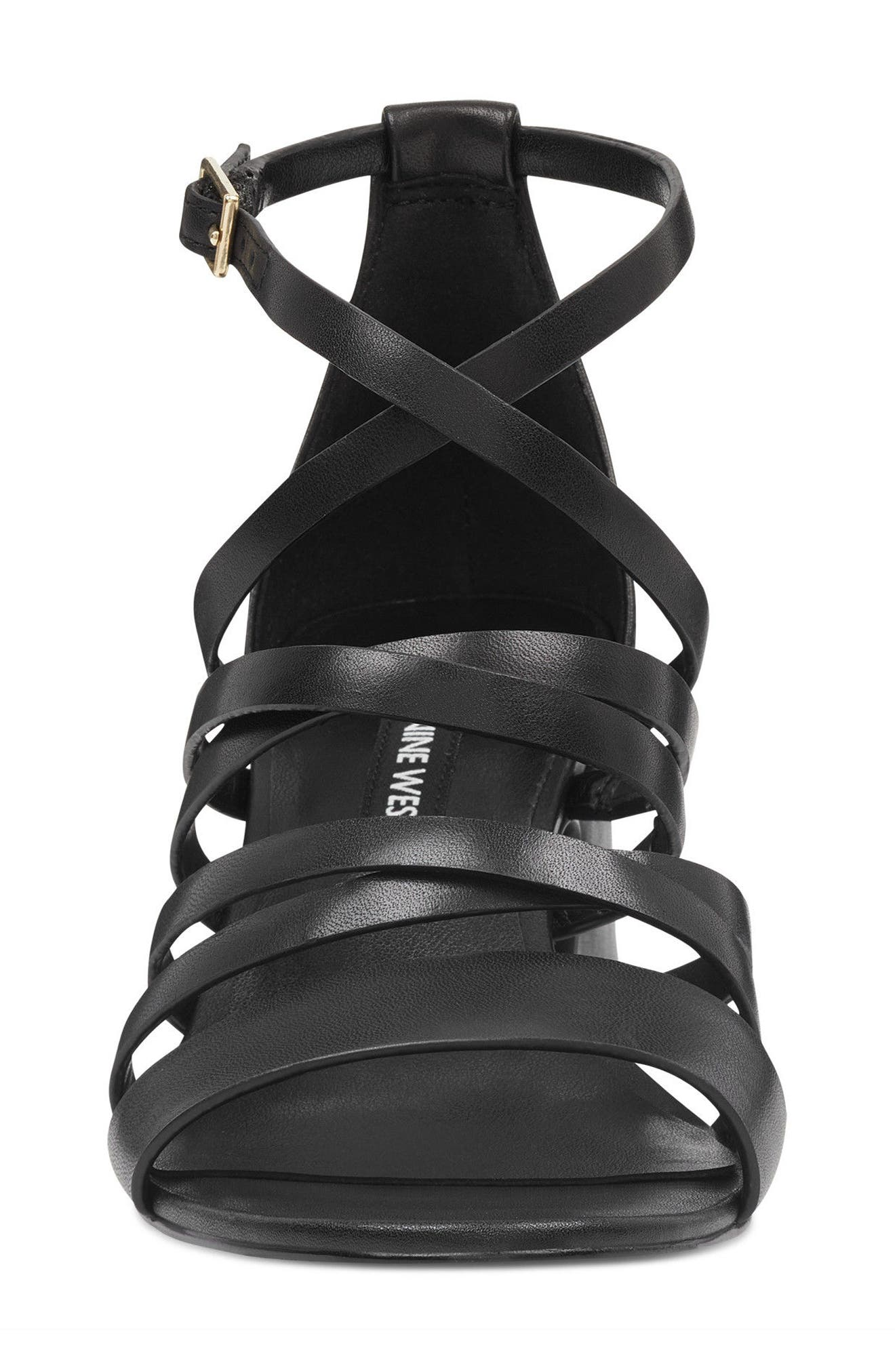 Youlo Strappy Cage Sandal,                             Alternate thumbnail 4, color,                             BLACK LEATHER