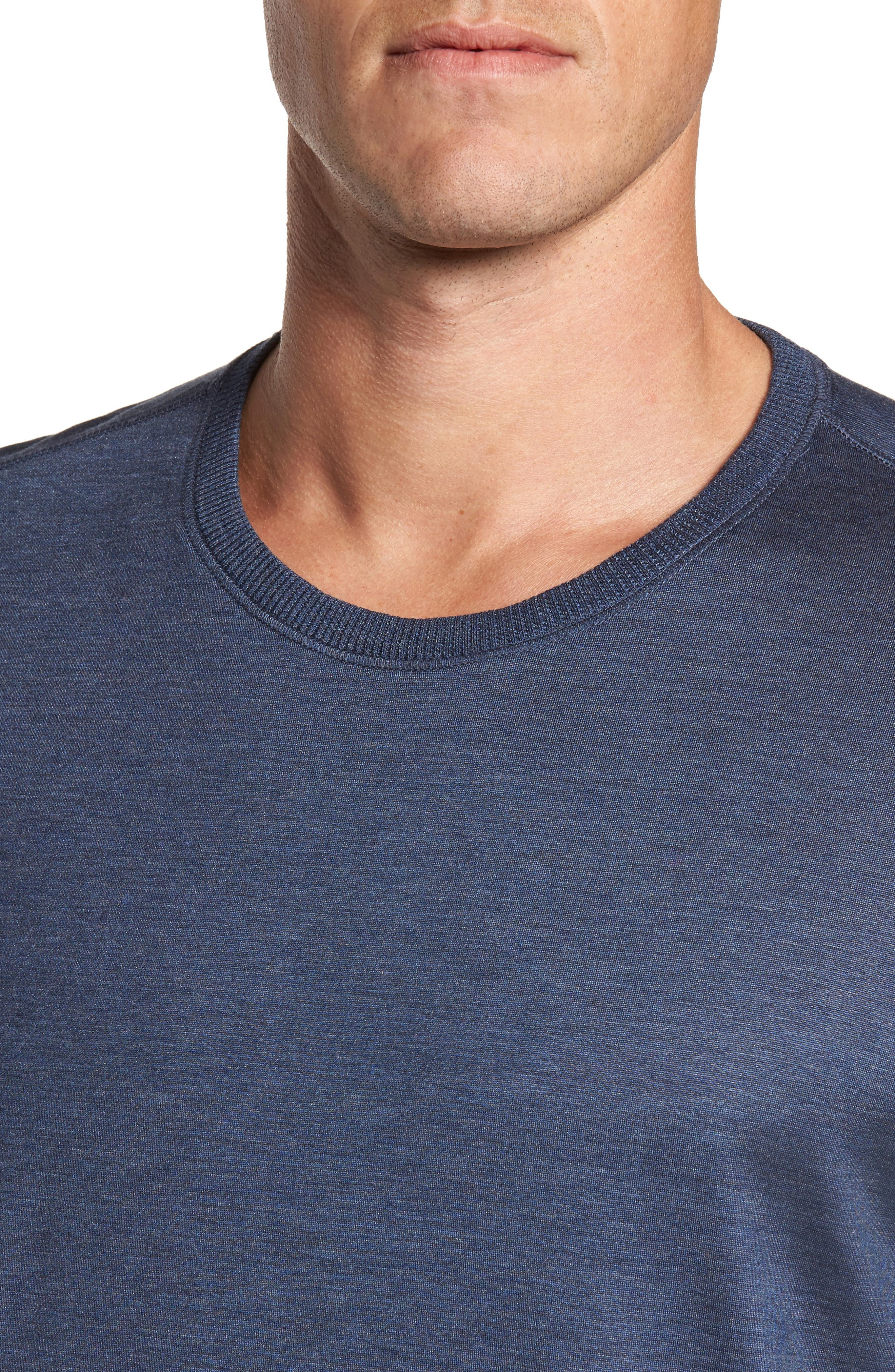 Silk & Cotton Crewneck T-Shirt,                             Alternate thumbnail 4, color,                             NAVY HEATHER