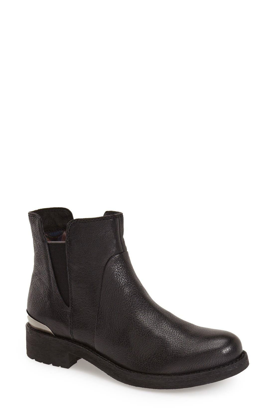 'New Virna' Chelsea Boot,                         Main,                         color, BLACK SMOOTH LEATHER