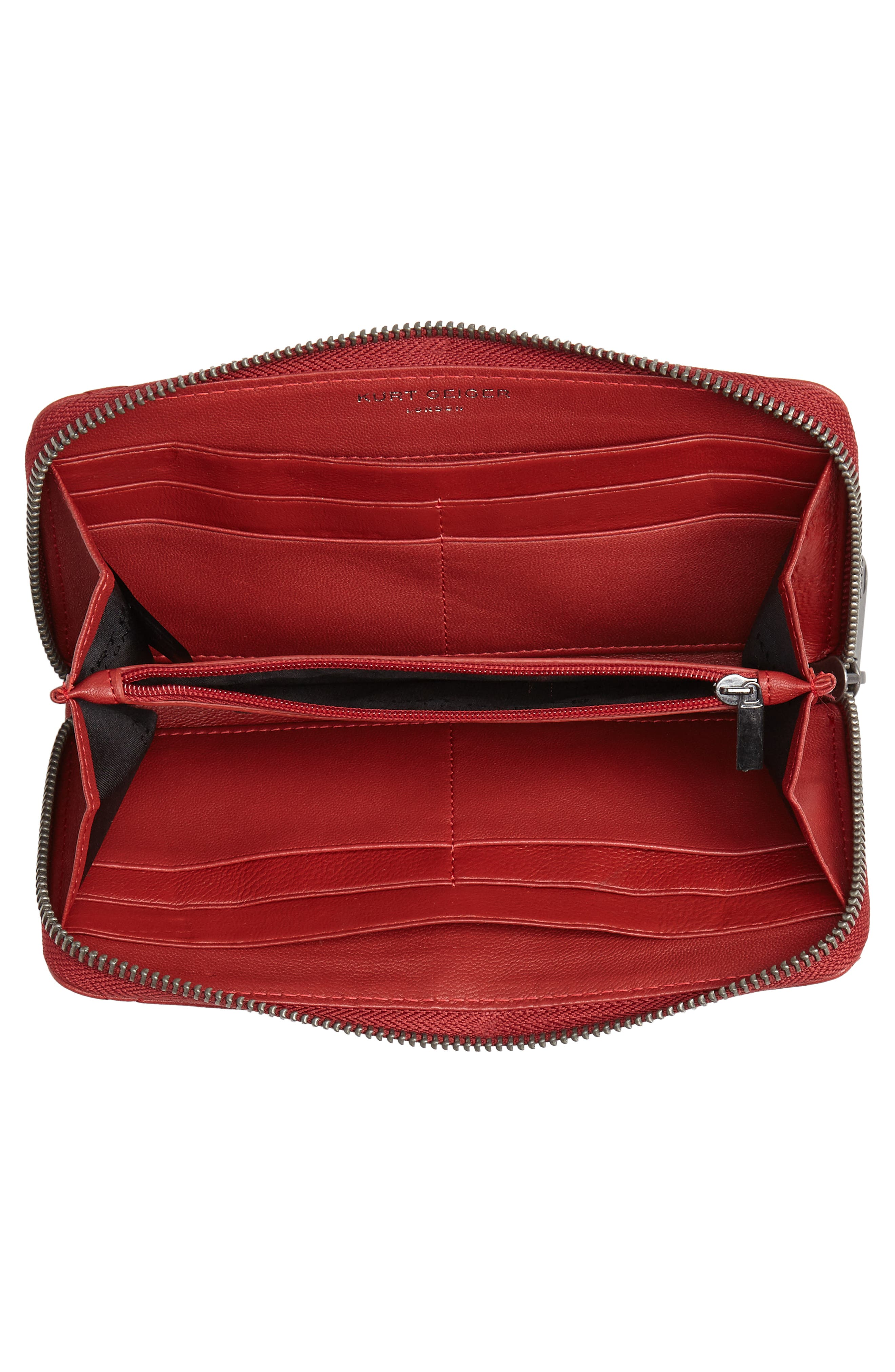Eagle Leather Zip Around Wallet,                             Alternate thumbnail 4, color,                             RED