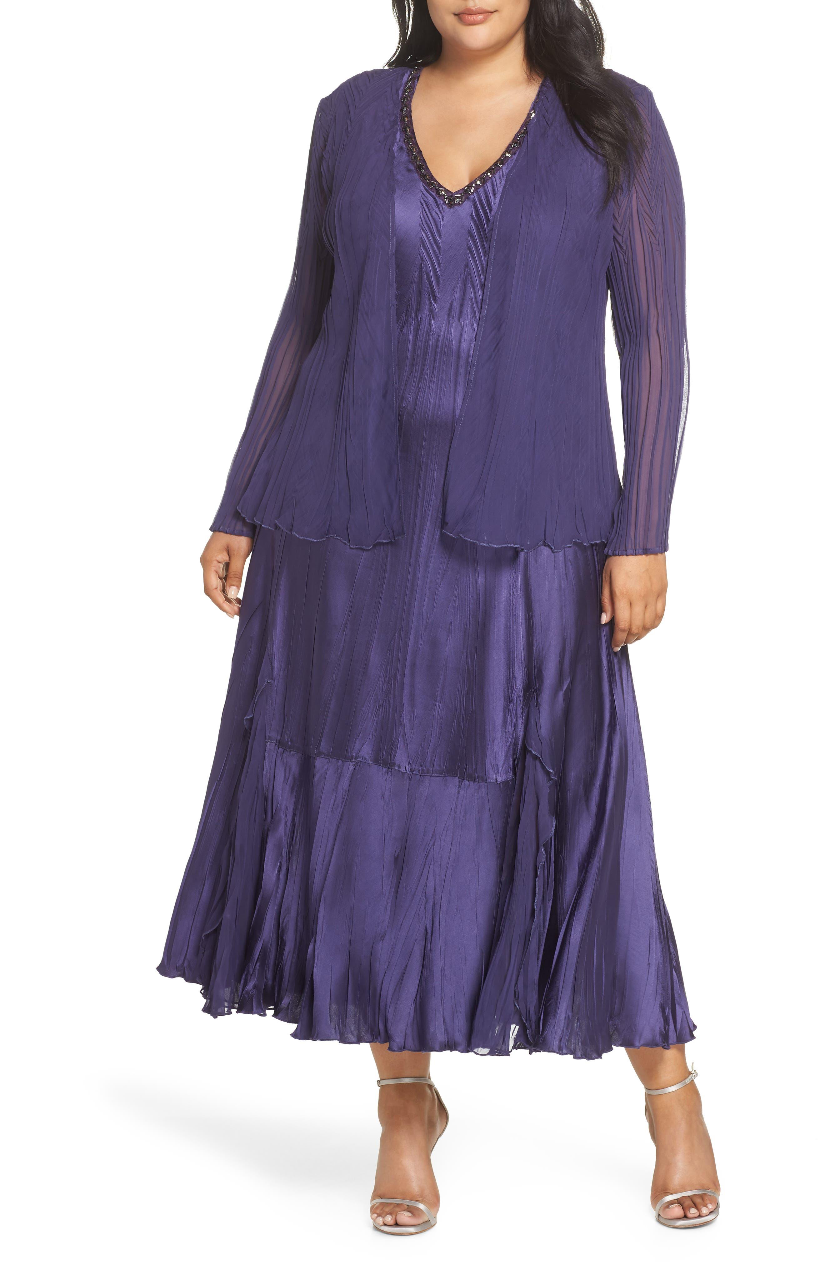 Plus Size Komarov Embellished Midi Dress With Jacket, Purple