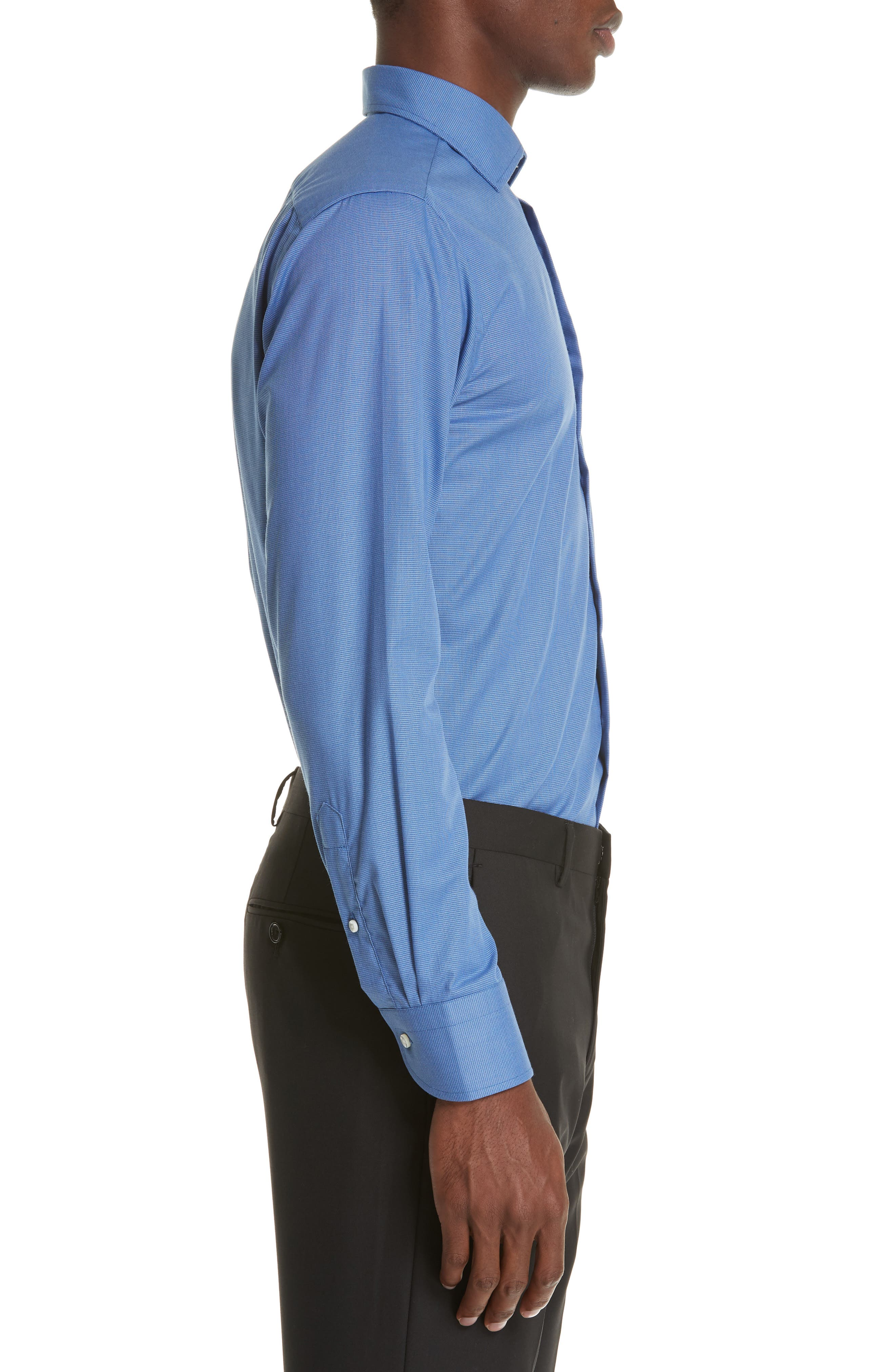 Trim Fit Dress Shirt,                             Alternate thumbnail 4, color,                             DARK BLUE