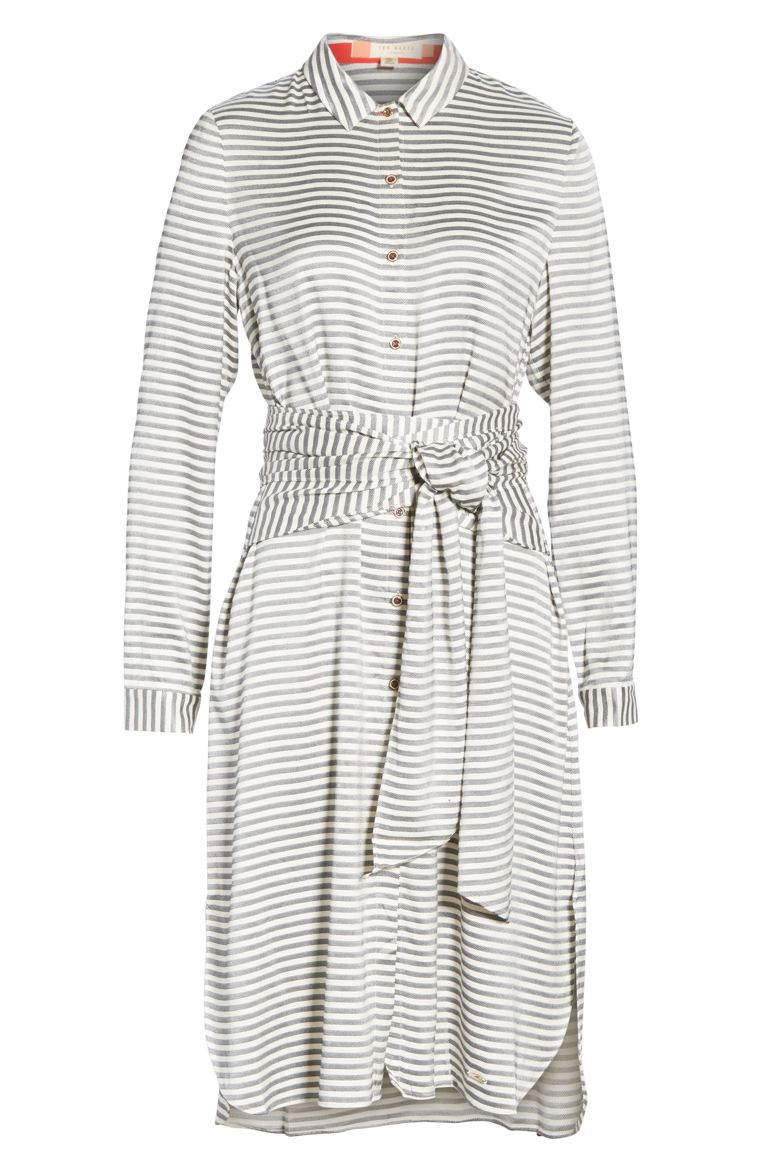 Colour by Numbers Sandre Stripe Shirtdress,                             Alternate thumbnail 6, color,                             905