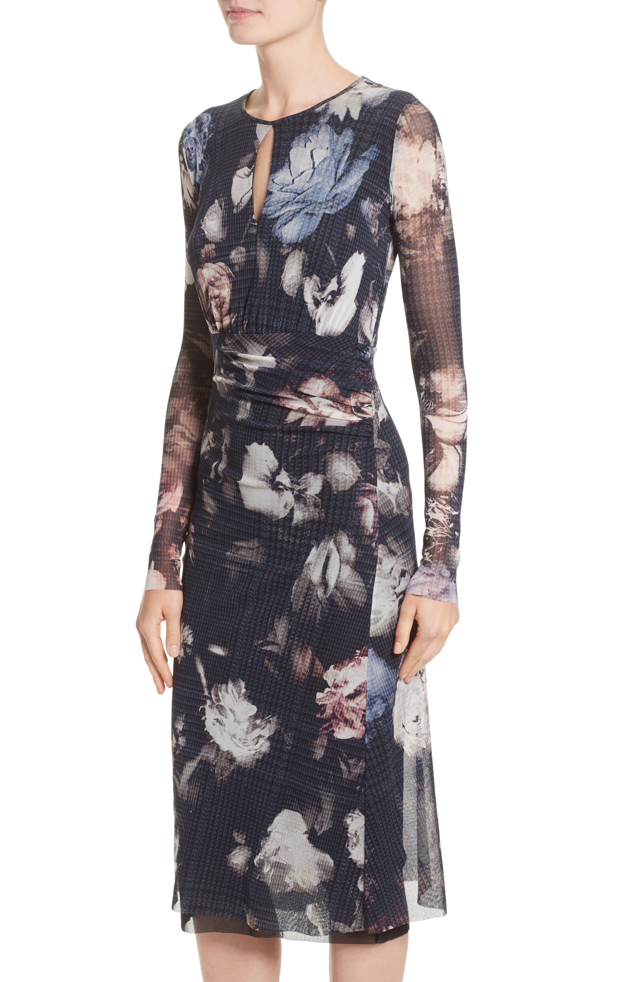 Floral Print Tulle Keyhole Dress,                             Alternate thumbnail 4, color,                             001