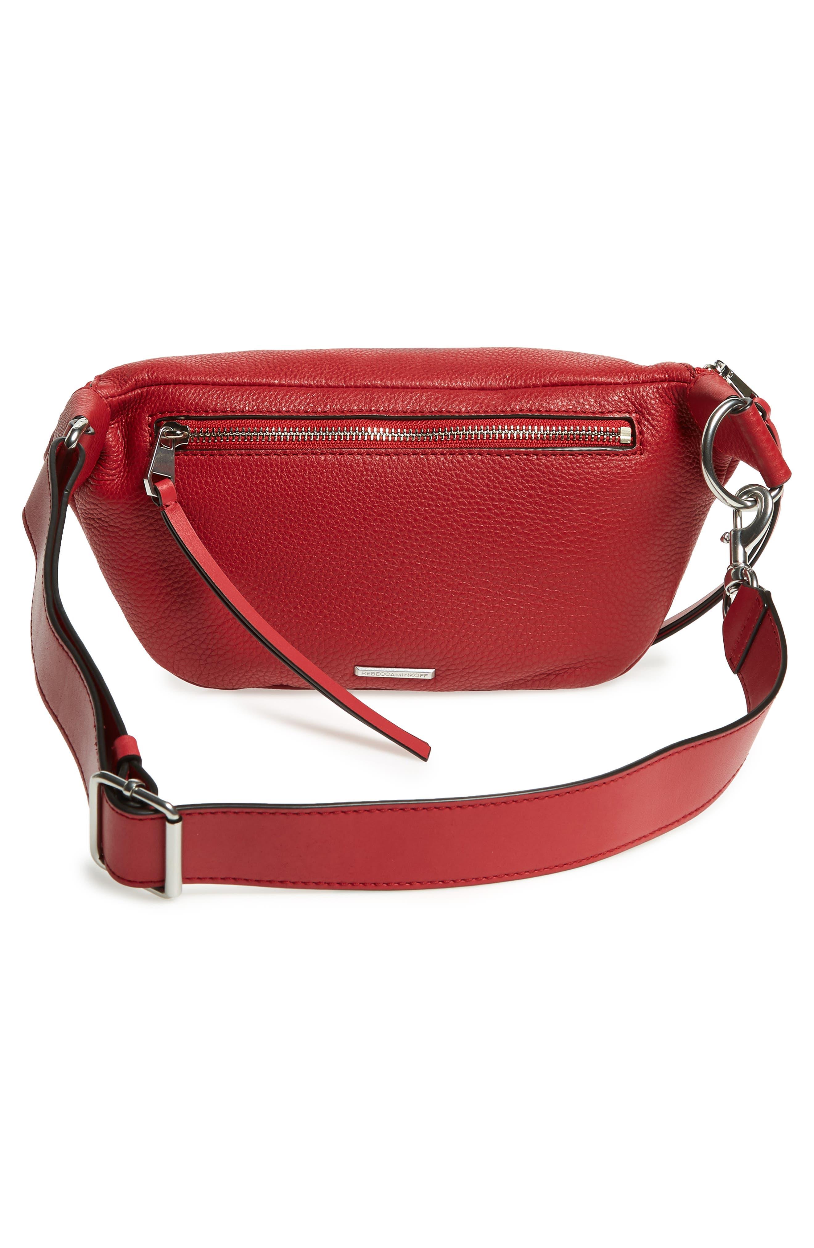 Bree Leather Belt Bag,                             Alternate thumbnail 4, color,                             SCARLET