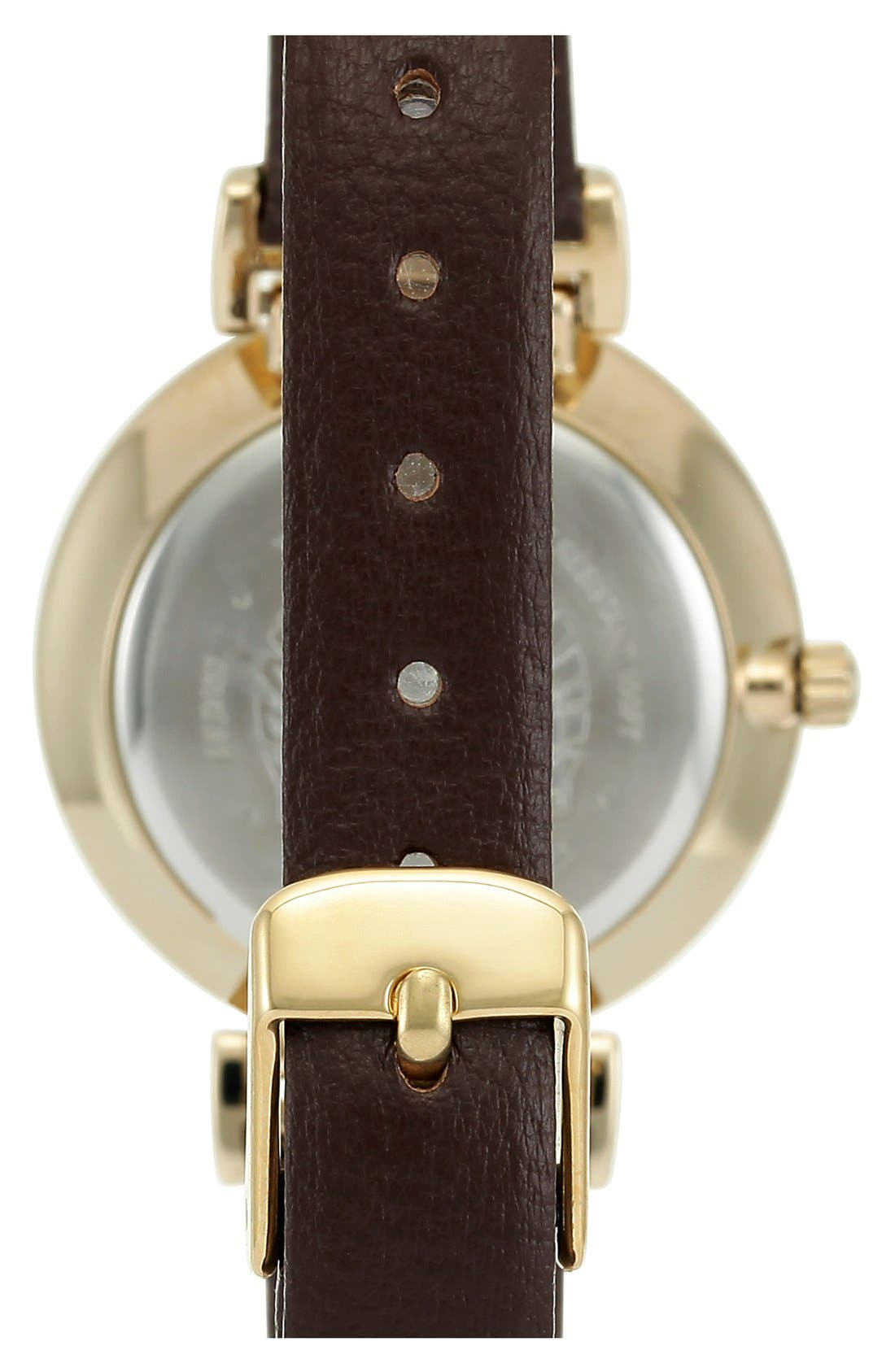 Leather Strap Watch, 30mm,                             Alternate thumbnail 2, color,                             BROWN/ GOLD