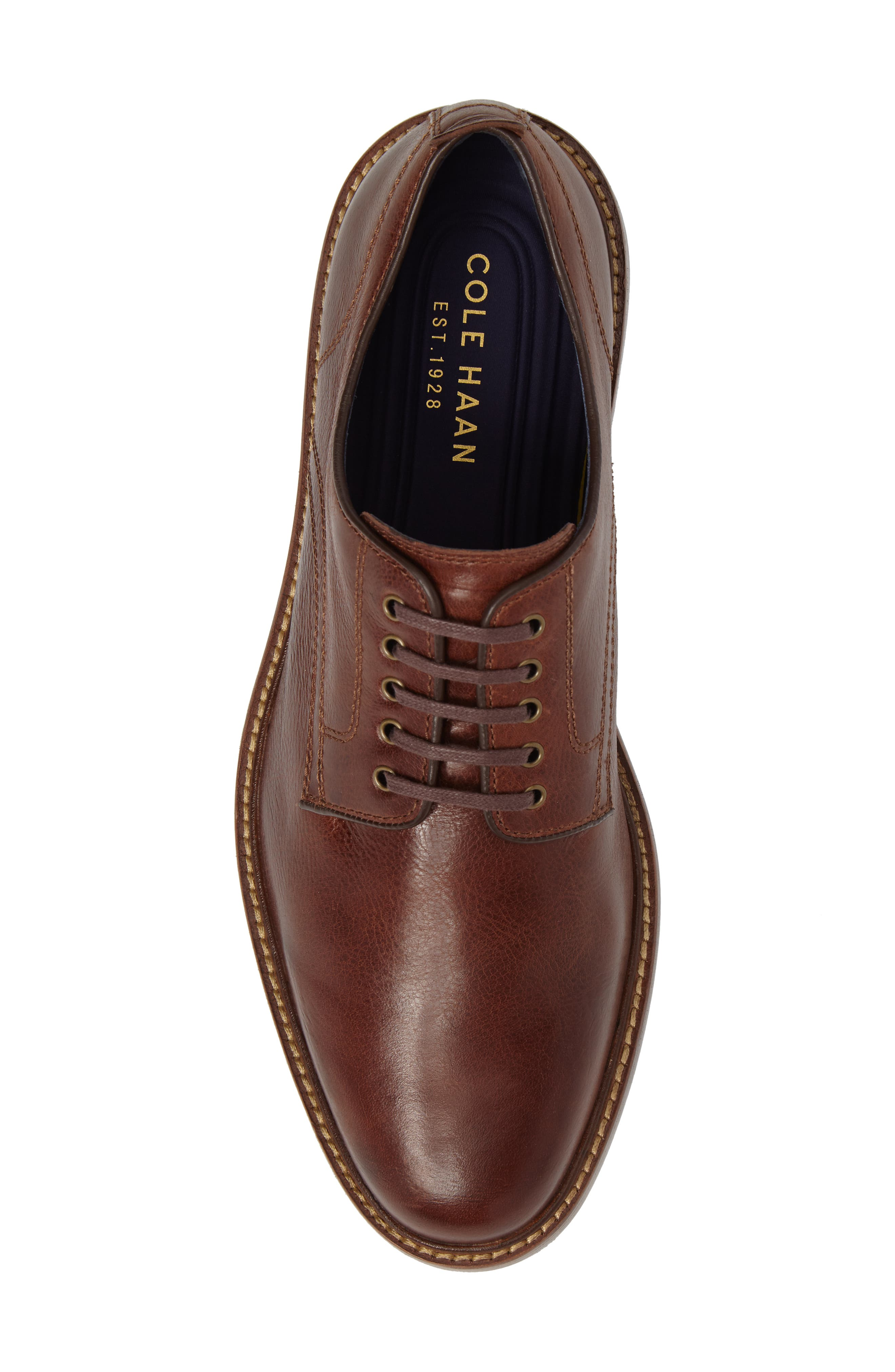 Tyler Grand Plain-Toe Derby,                             Alternate thumbnail 5, color,                             WOODBURY LEATHER