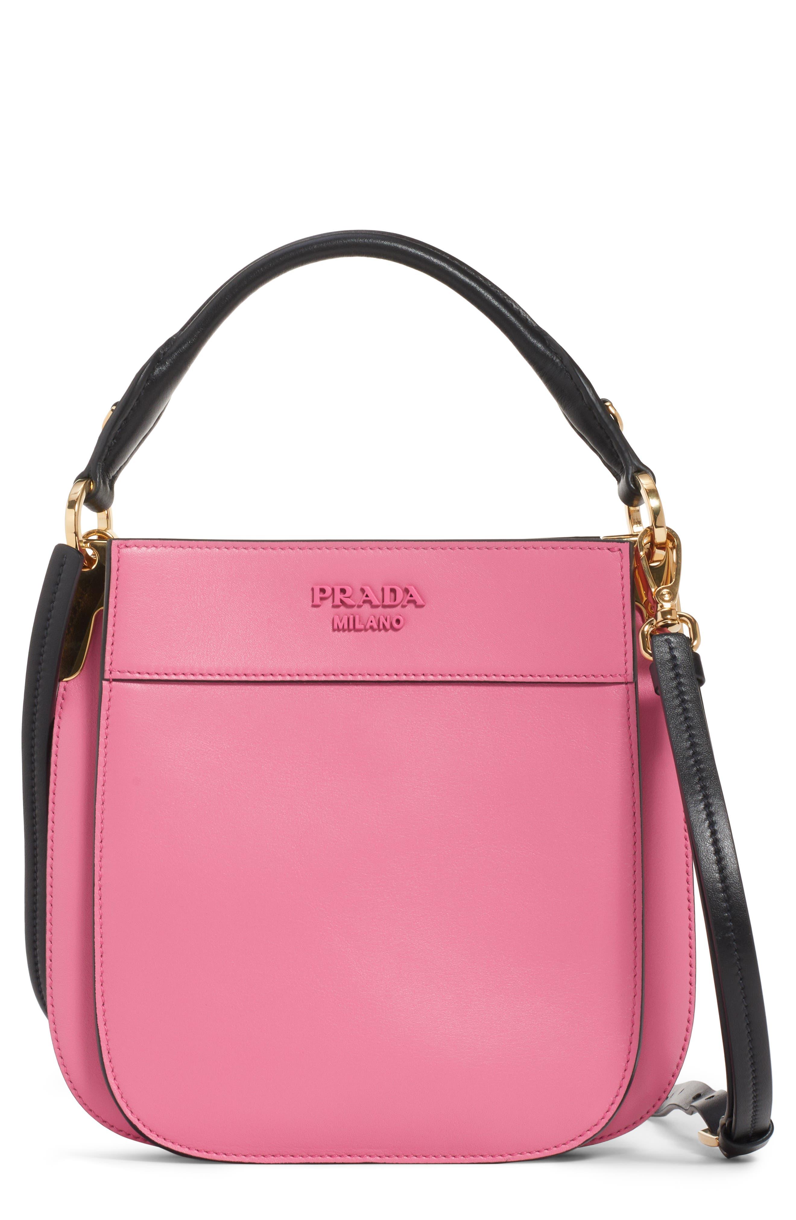 PRADA Large Margit Shoulder Bag, Main, color, BEGONIA/ NERO