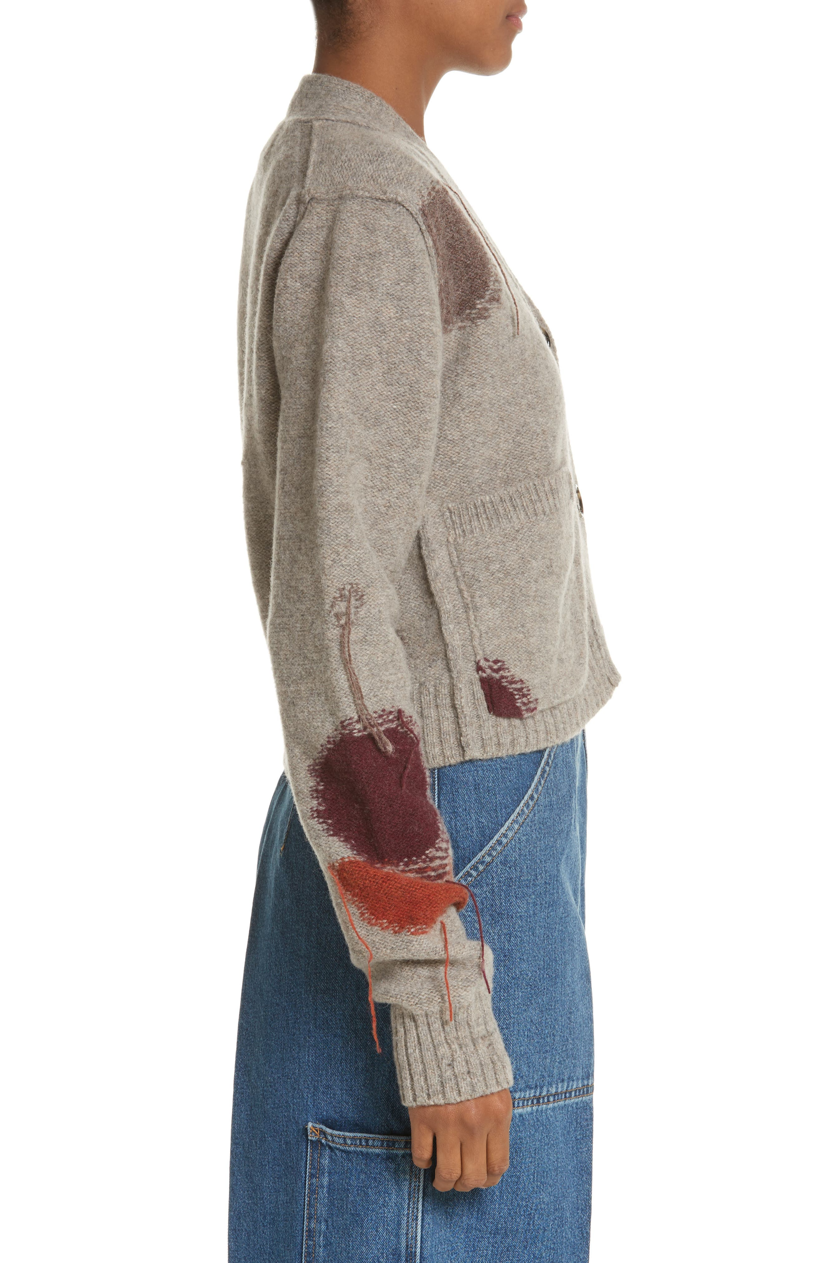 Lysa Distressed Wool Button Cardigan,                             Alternate thumbnail 3, color,                             250