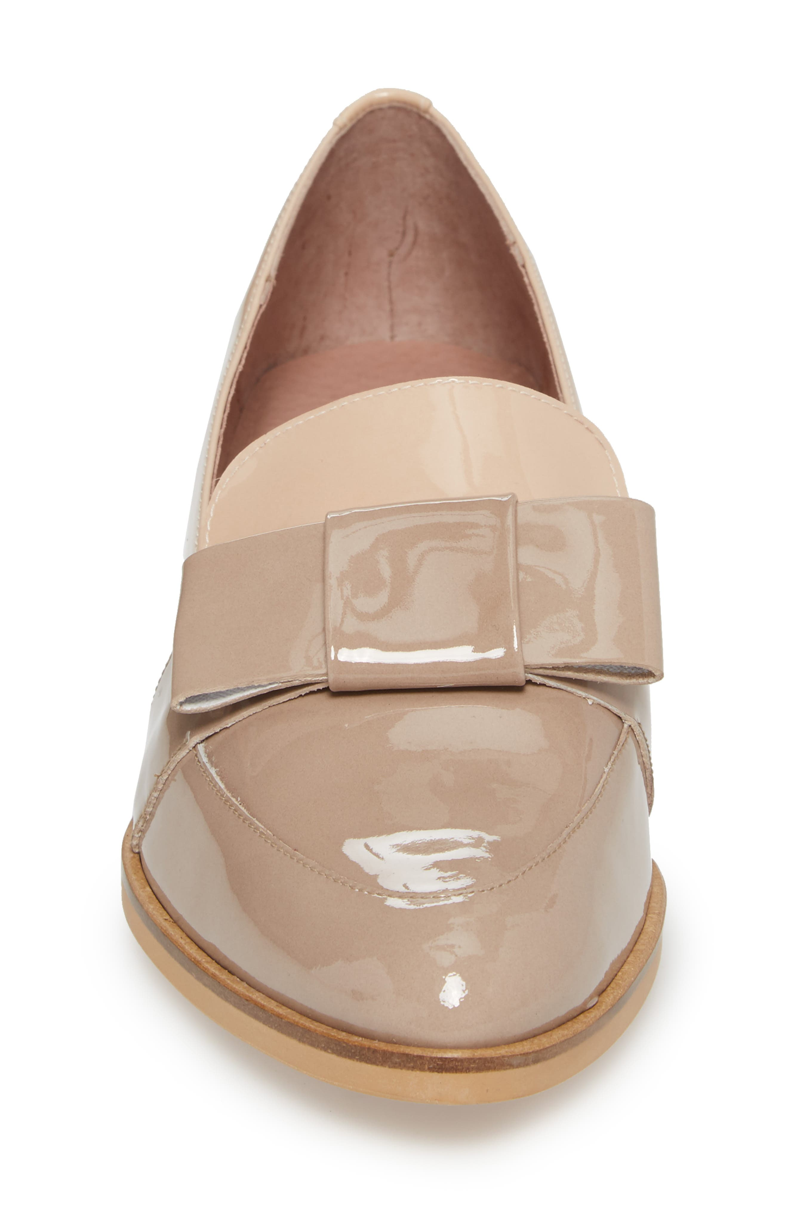Block Heel Loafer Pump,                             Alternate thumbnail 4, color,                             TAUPE/ PALO PATENT LEATHER