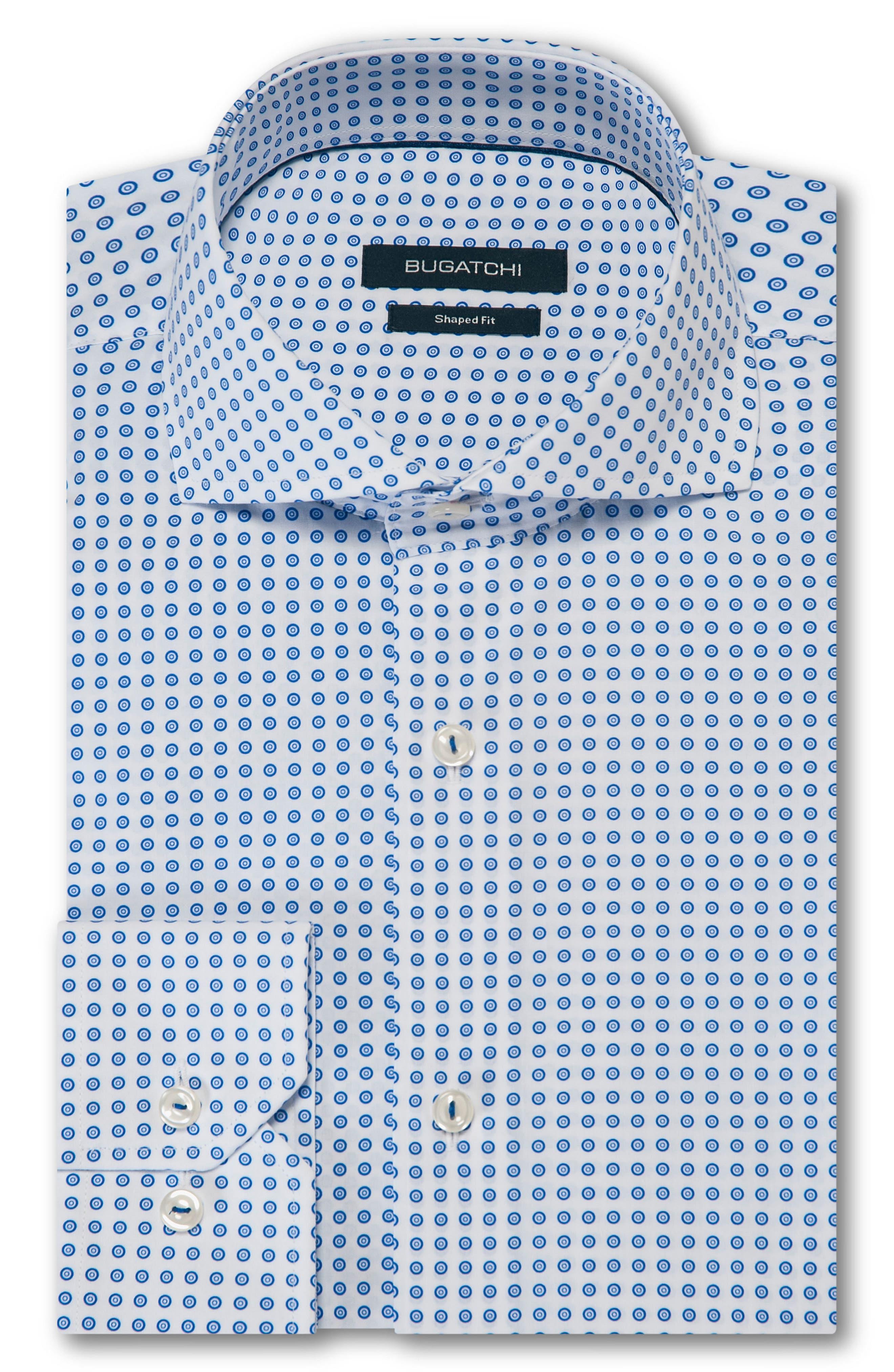 Trim Fit Dot Dress Shirt,                             Alternate thumbnail 5, color,                             CLASSIC BLUE