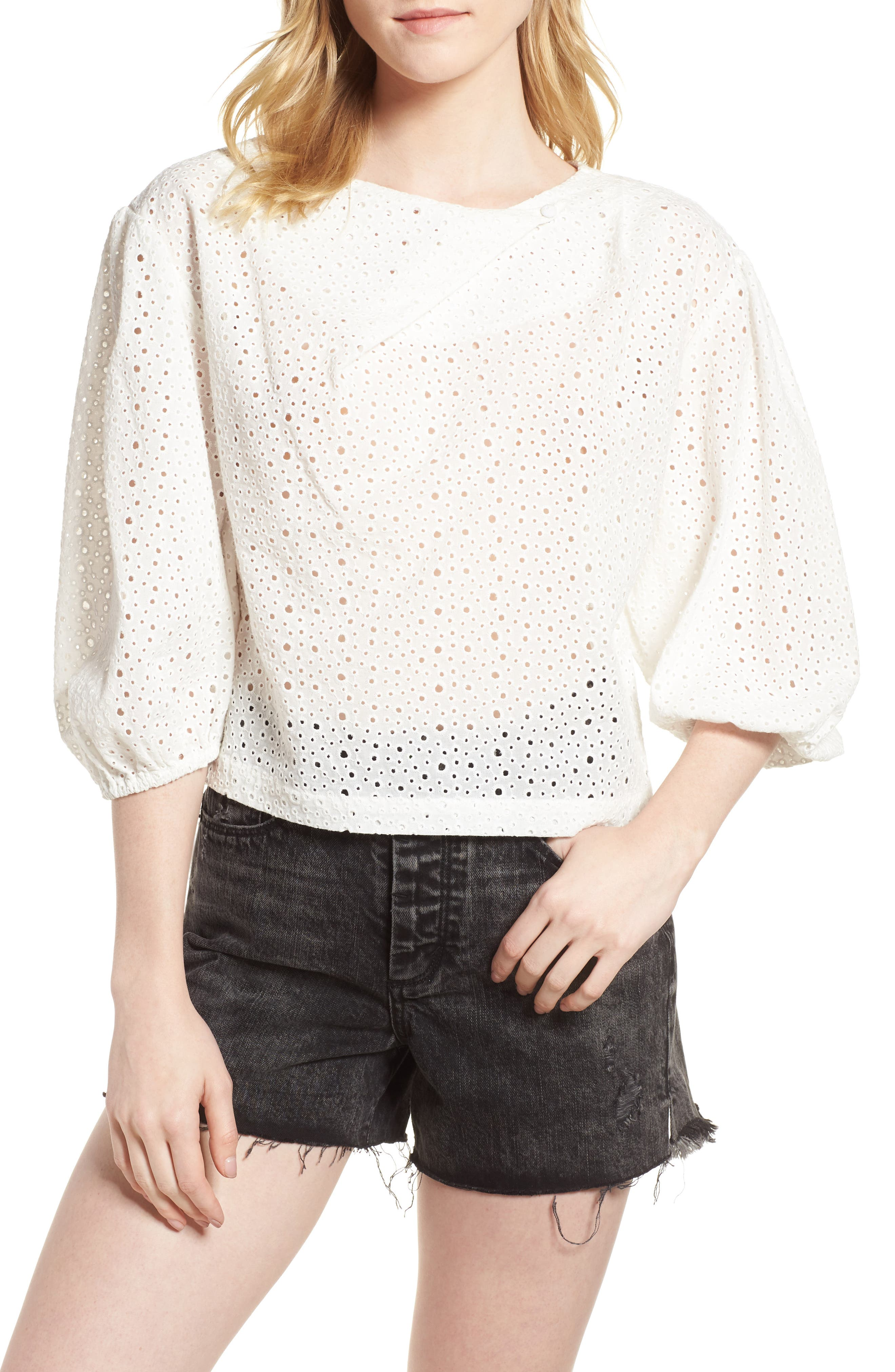 Leah Blouson Sleeve Top,                         Main,                         color, BRIGHT WHITE
