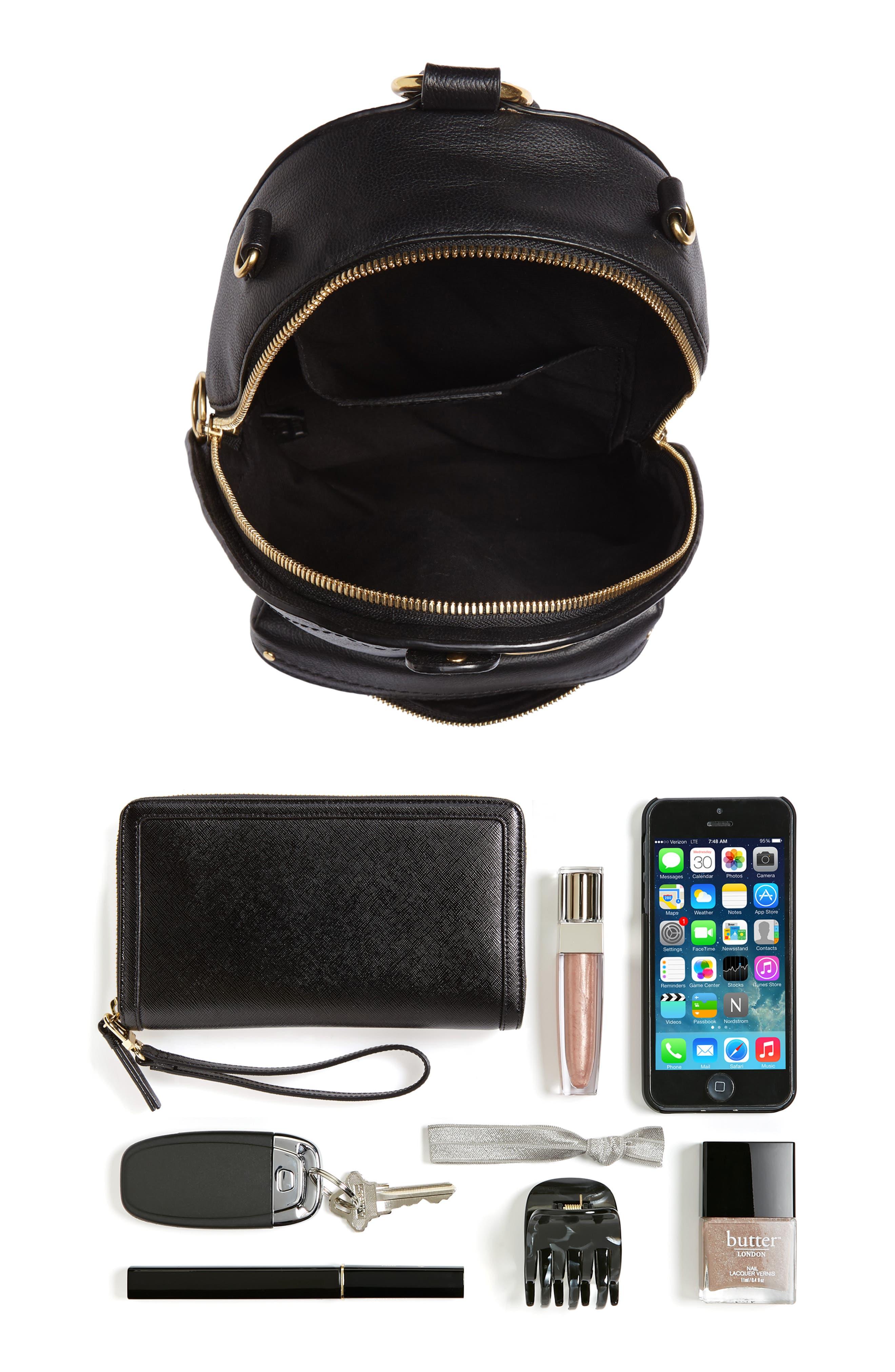 Mini Mino Leather Backpack,                             Alternate thumbnail 8, color,                             BLACK