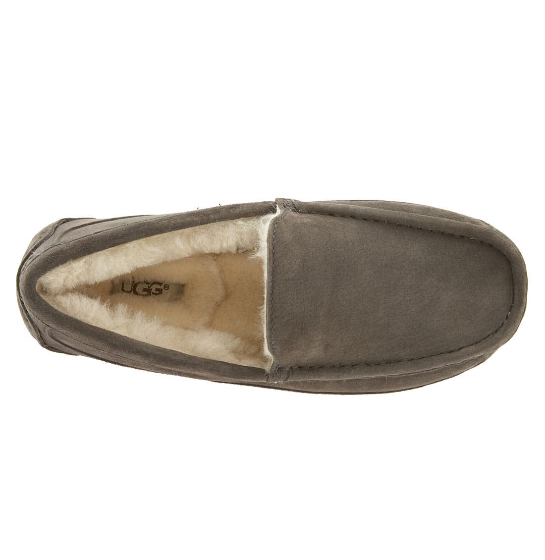 Ascot Suede Slipper,                             Alternate thumbnail 6, color,                             CHARCOAL
