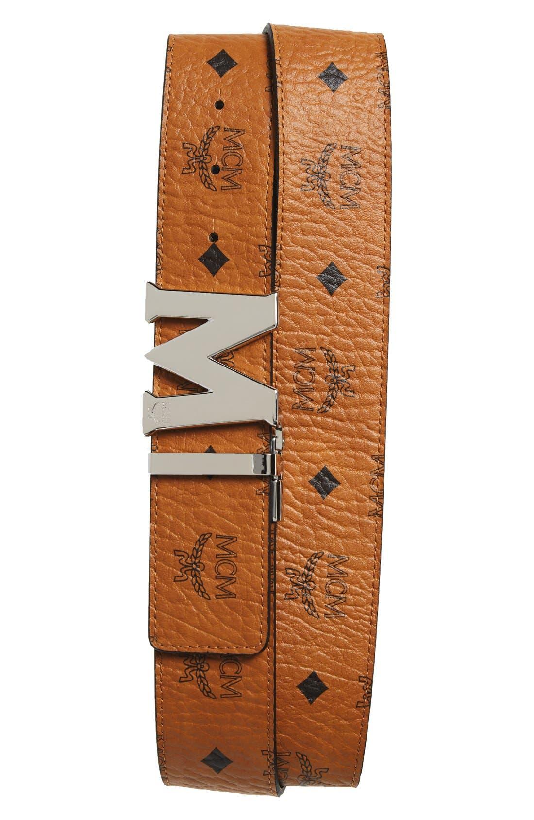 Cobalt Leather Belt,                             Main thumbnail 2, color,