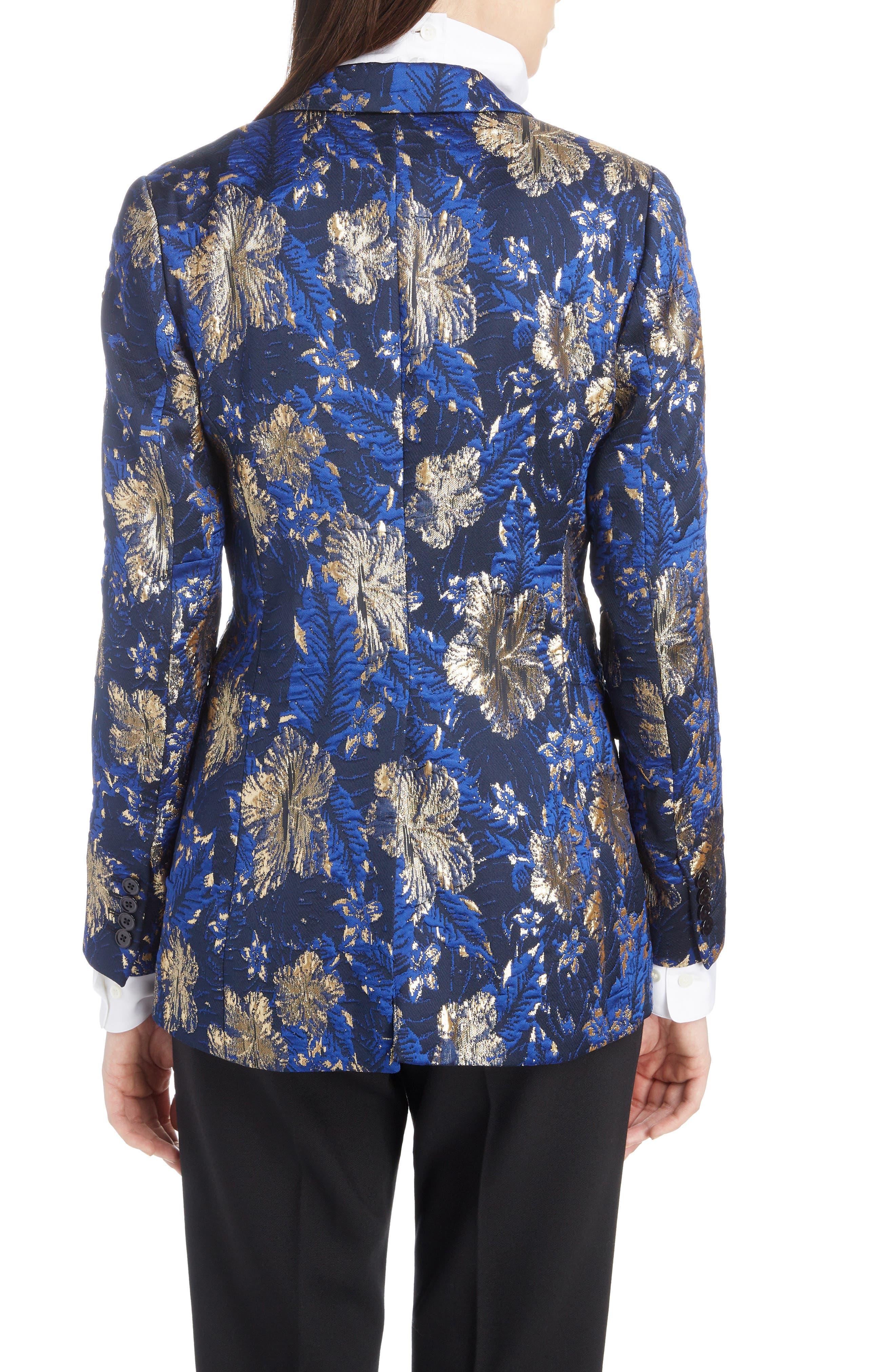 Metallic Floral Jacquard Blazer,                             Alternate thumbnail 2, color,                             BLUE