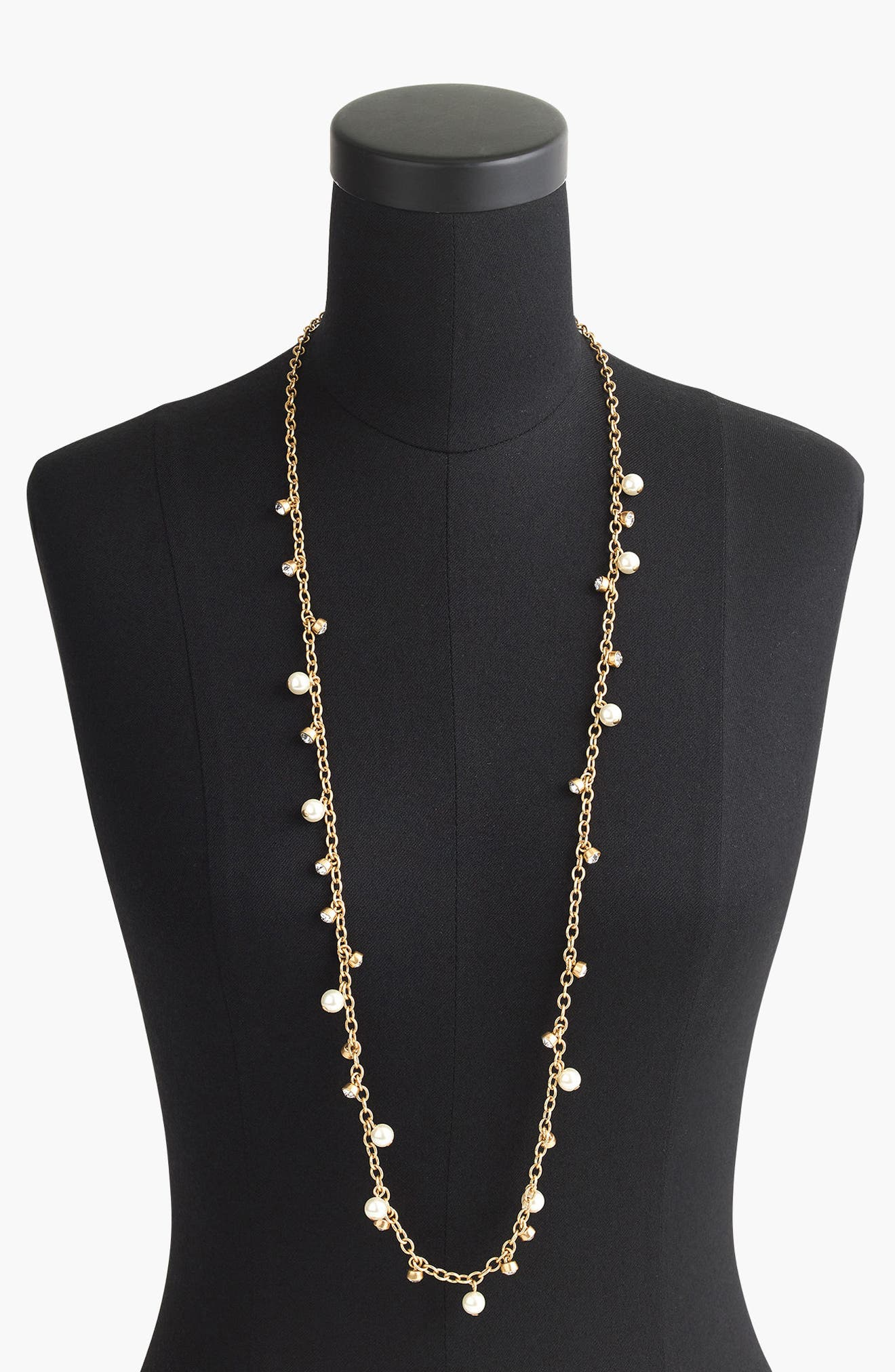 Long Crystal & Faux Pearl Necklace, Main, color, 900