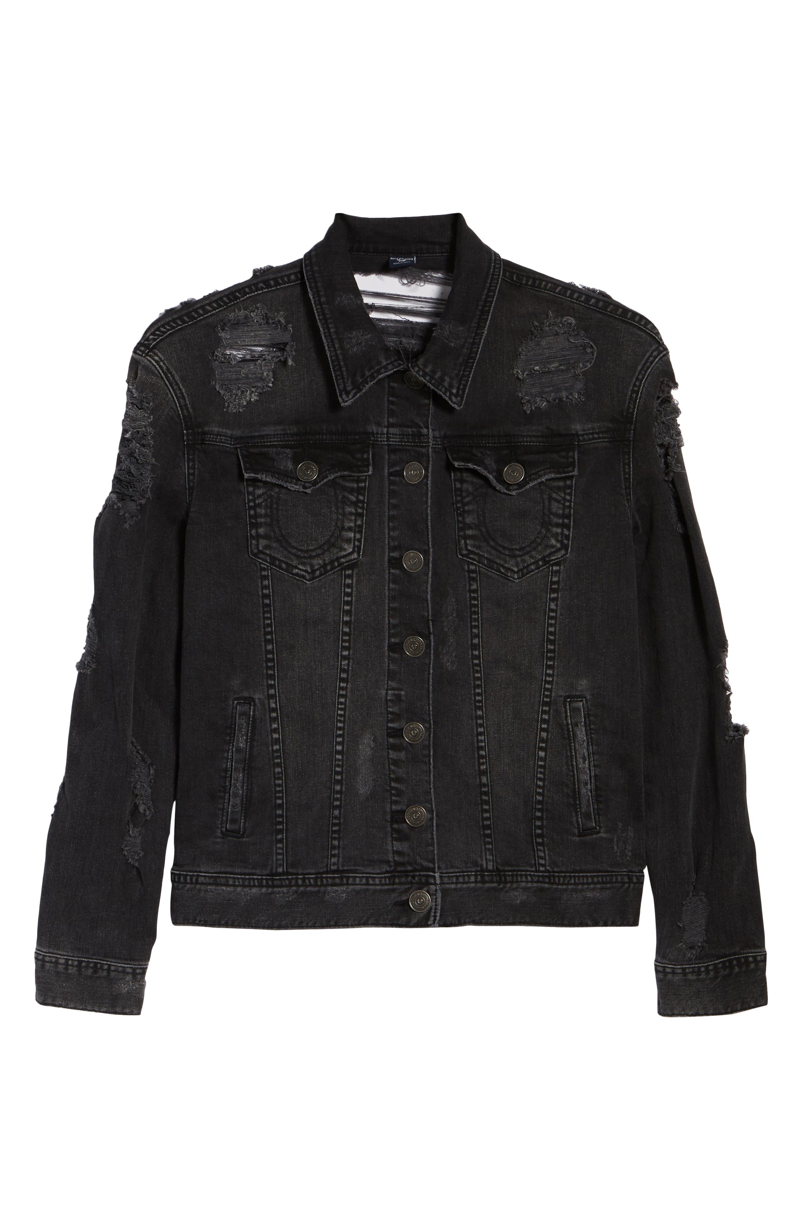 True Religion Danni Destroyed Denim Jacket,                             Alternate thumbnail 5, color,