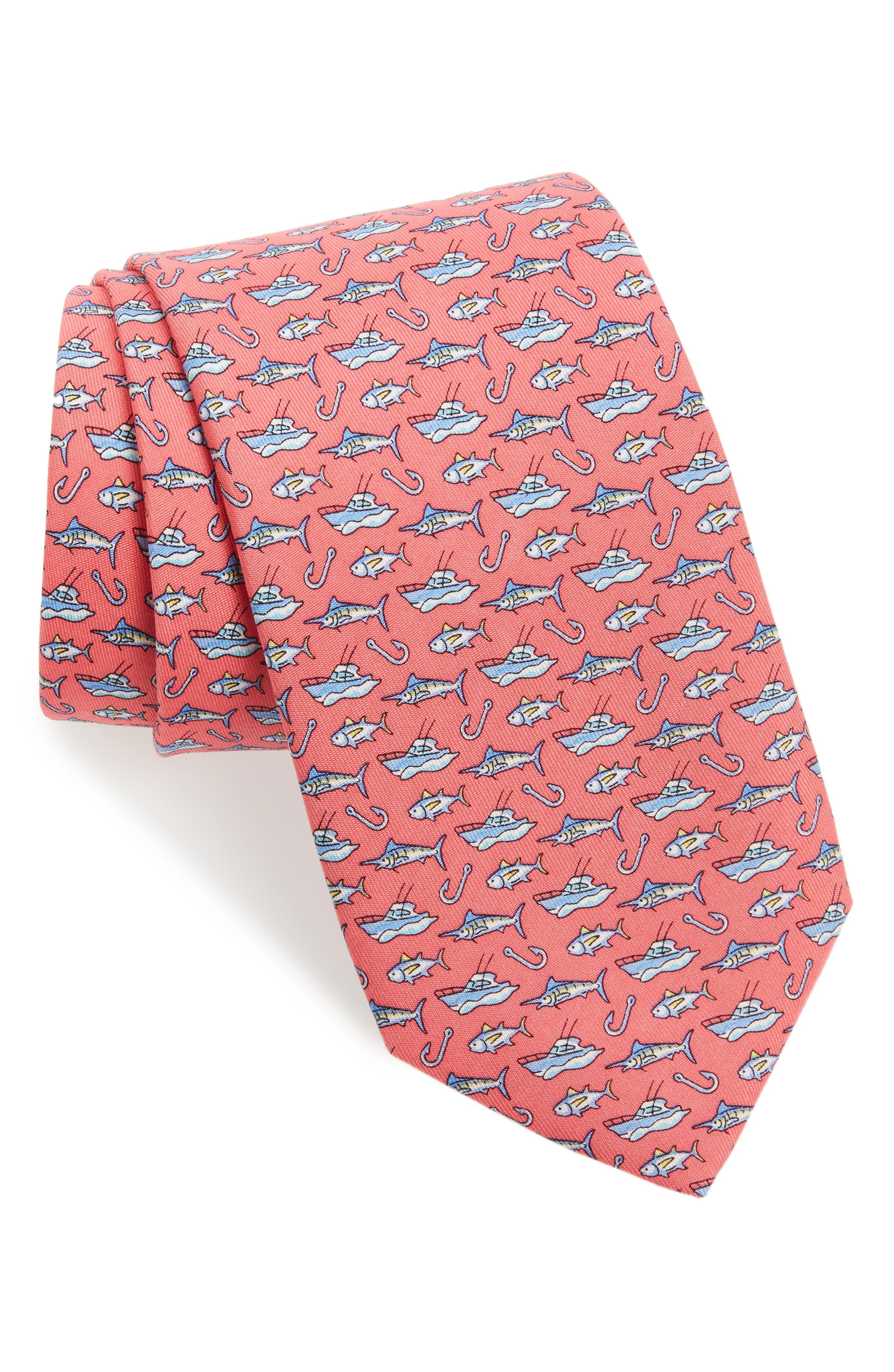 Coastal Fishing Silk Tie,                         Main,                         color, 669