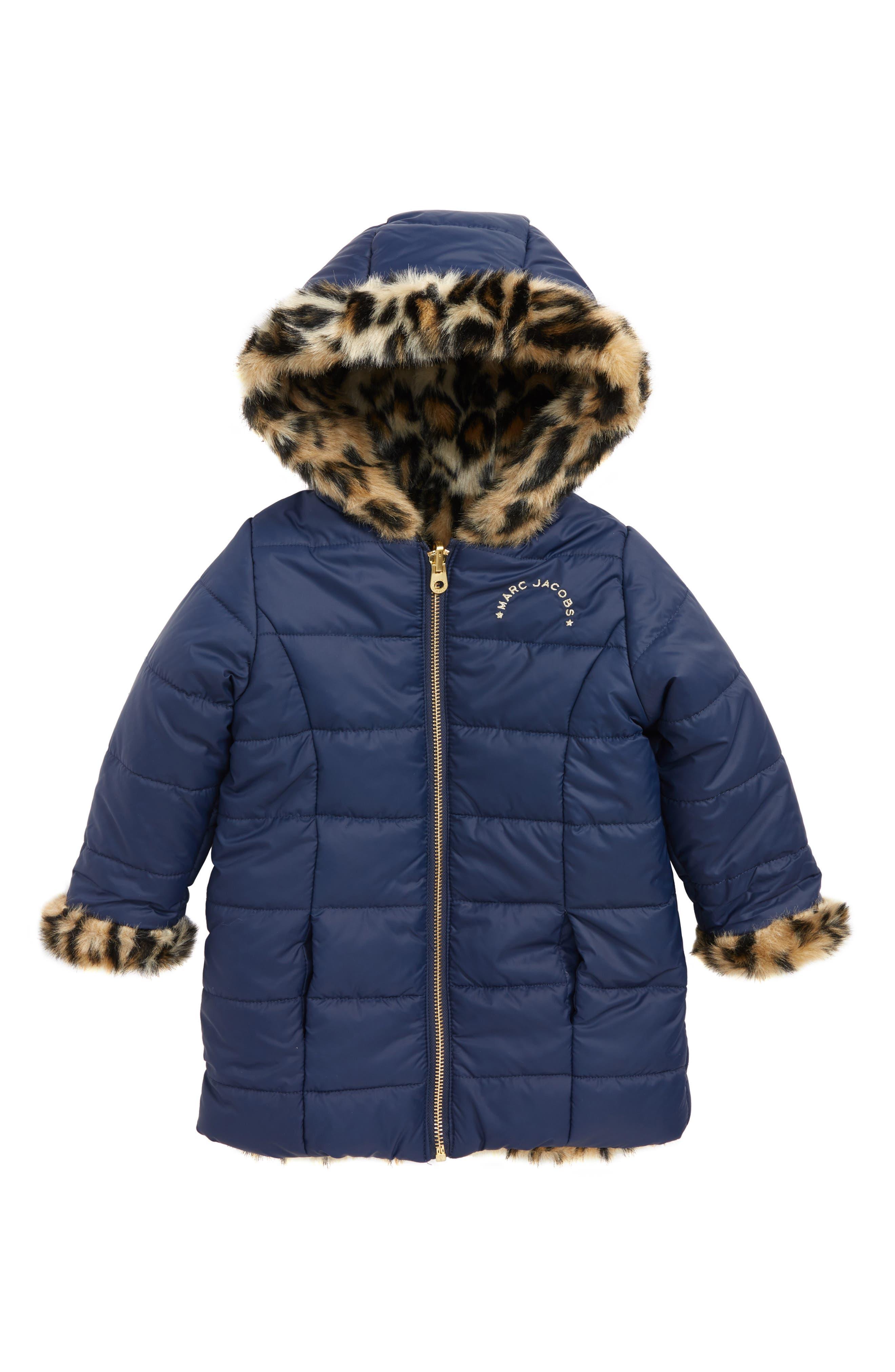 LITTLE MARC JACOBS Reversible Faux Fur Puffer Jacket, Main, color, 400