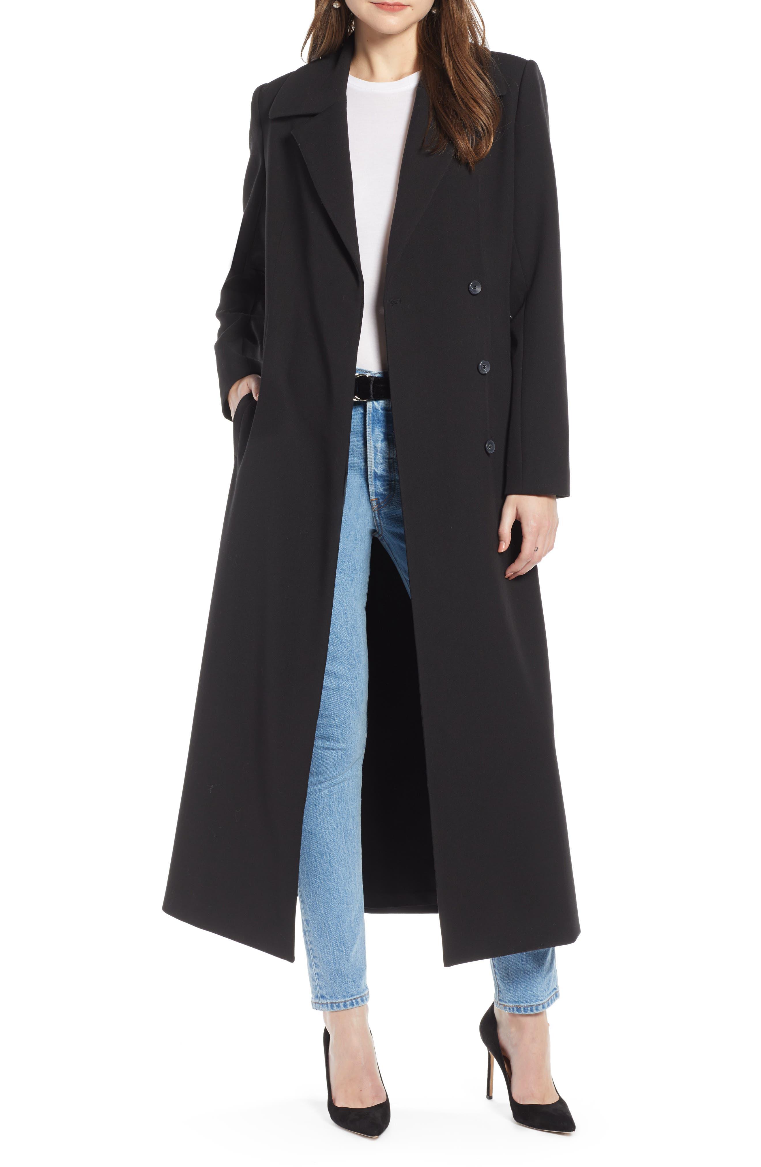 Long Feminine Coat,                             Main thumbnail 1, color,                             BLACK