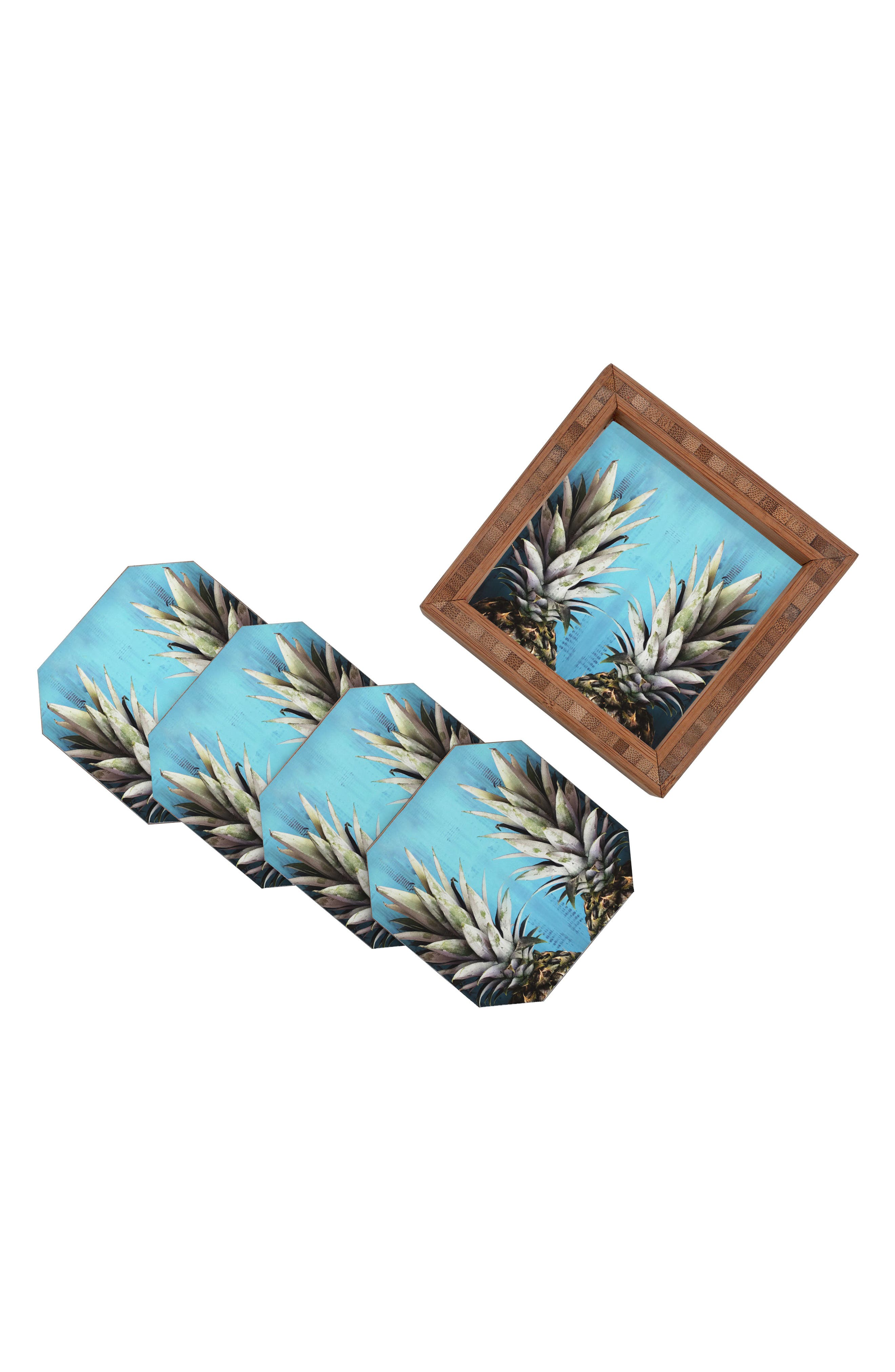 How About Them Pineapples Coaster Set of 4 Coasters,                             Main thumbnail 1, color,