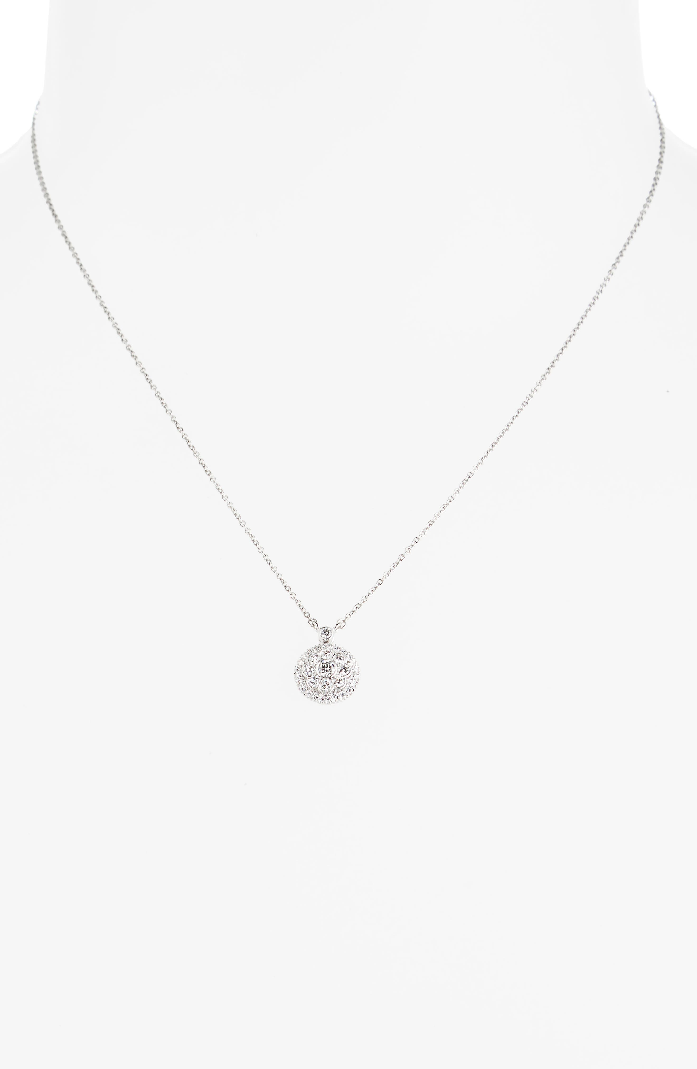 Diamond Pendant Necklace,                             Alternate thumbnail 2, color,                             WHITE GOLD