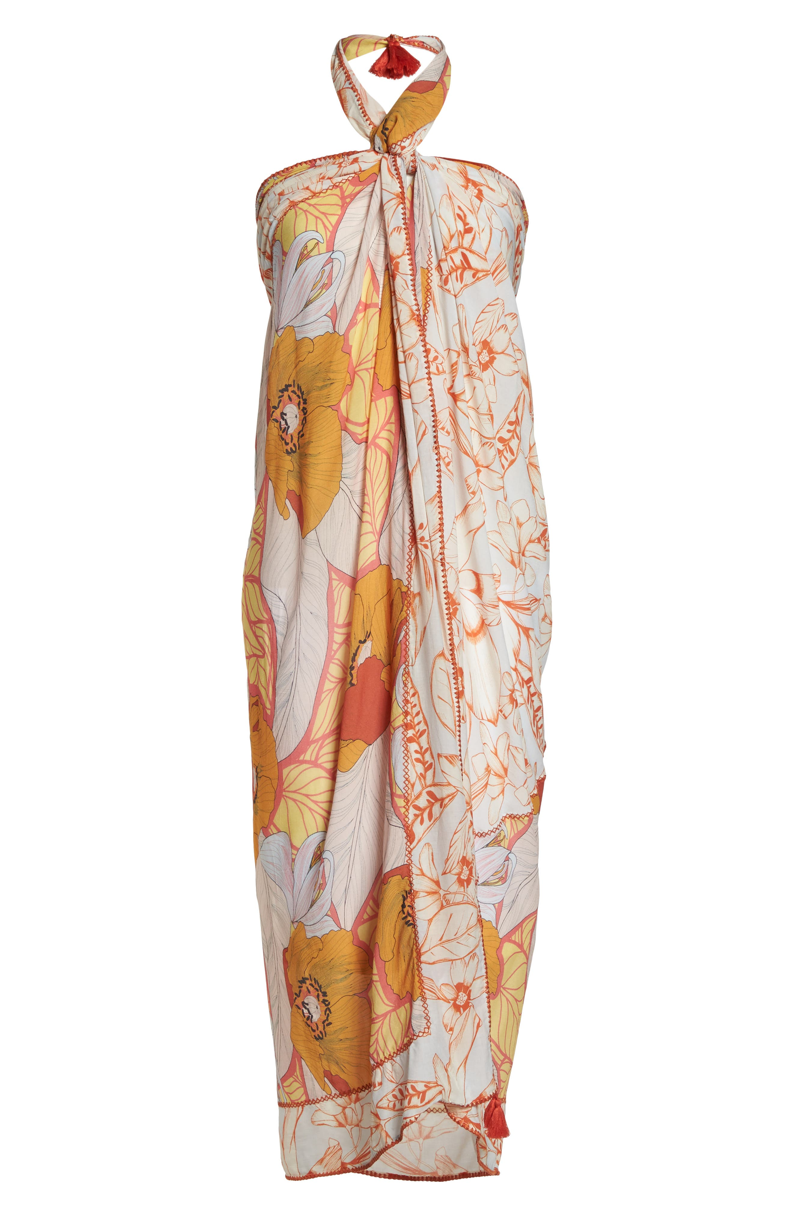Mellow Yellow Leaf Pattern Pareo Cover-Up,                             Alternate thumbnail 9, color,                             700