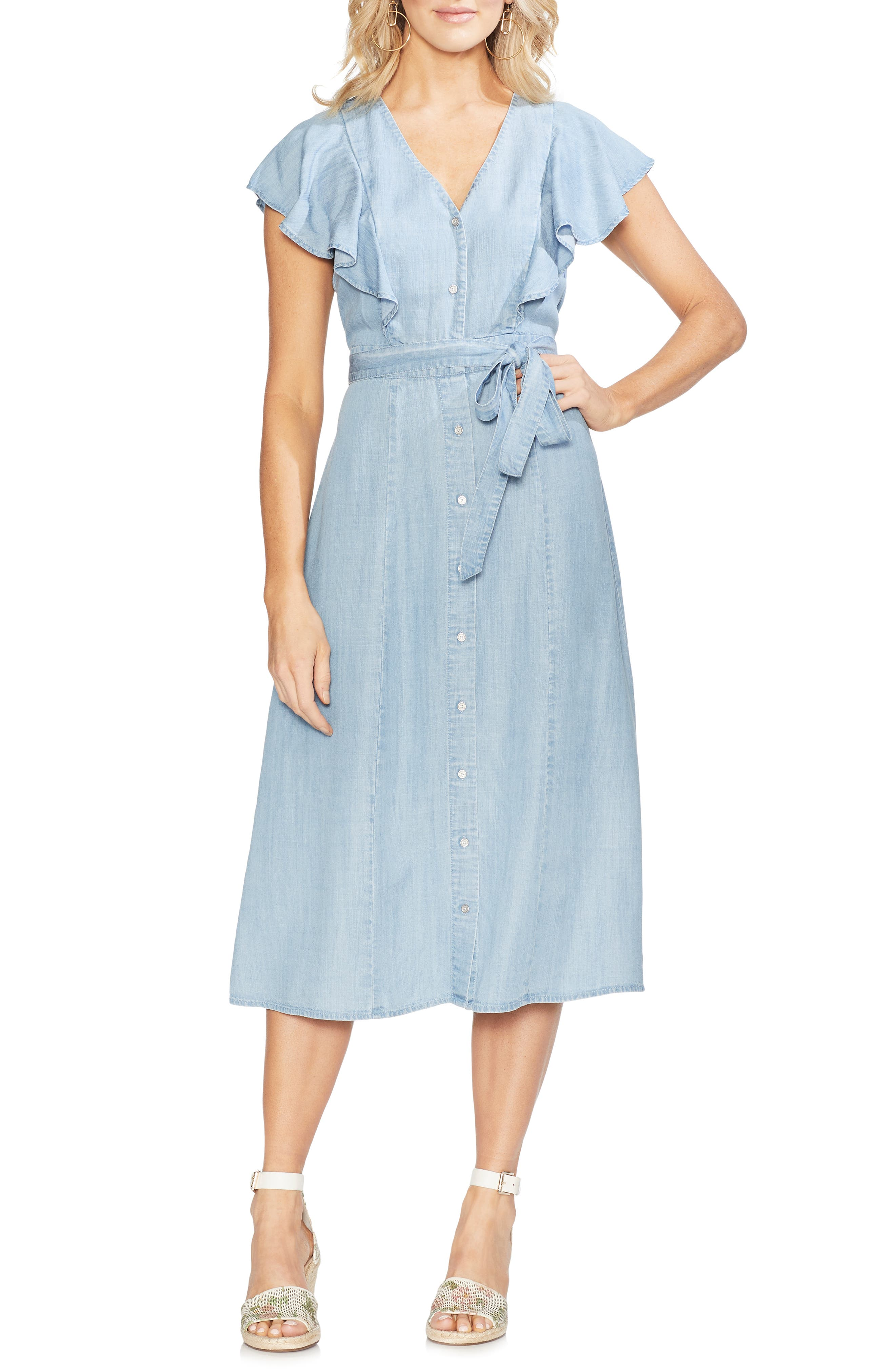 Vince Camuto Ruffle Front Chambray Midi Dress, Blue