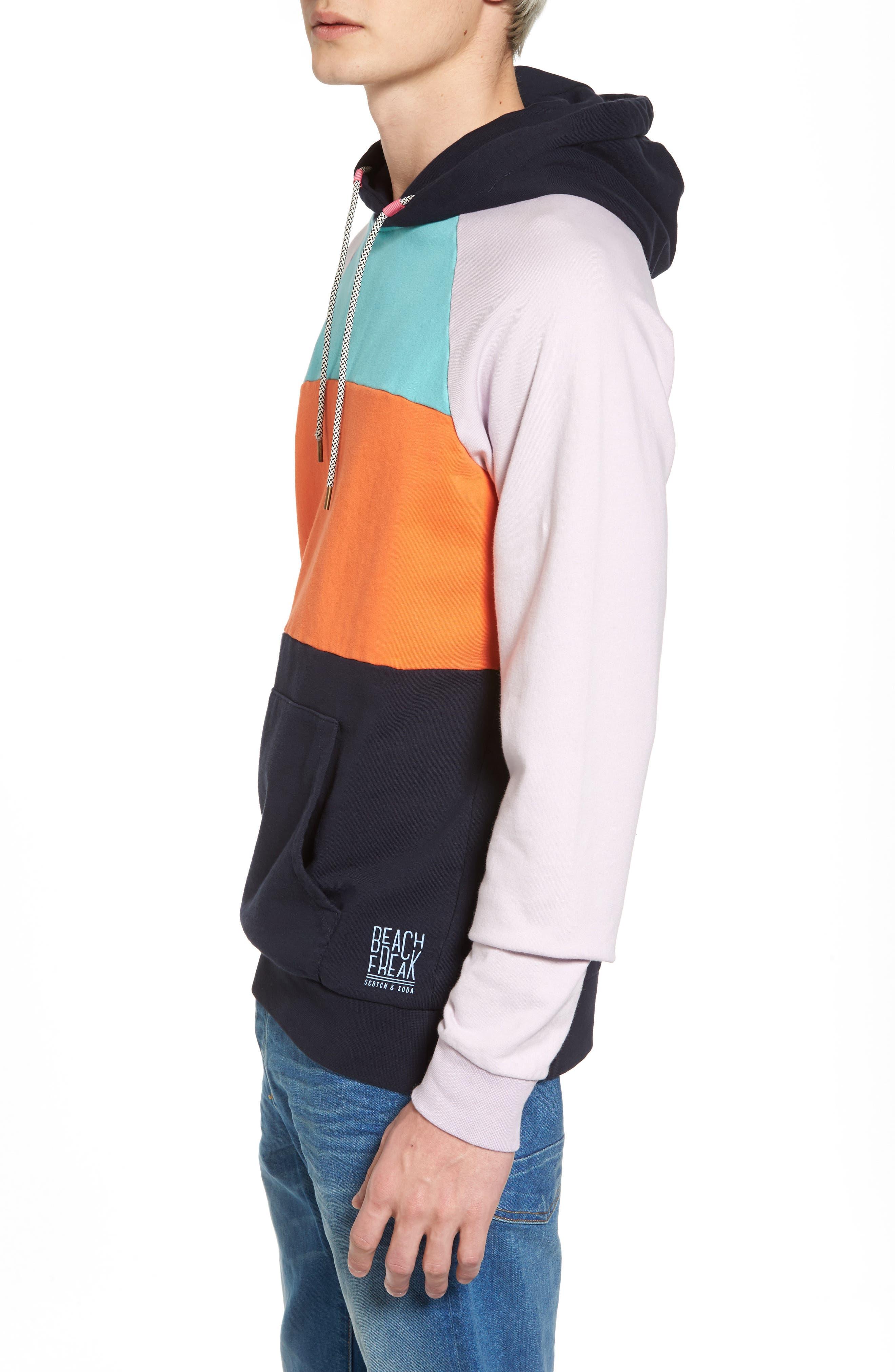 Summer Colorblock Hoodie Sweatshirt,                             Alternate thumbnail 3, color,                             100