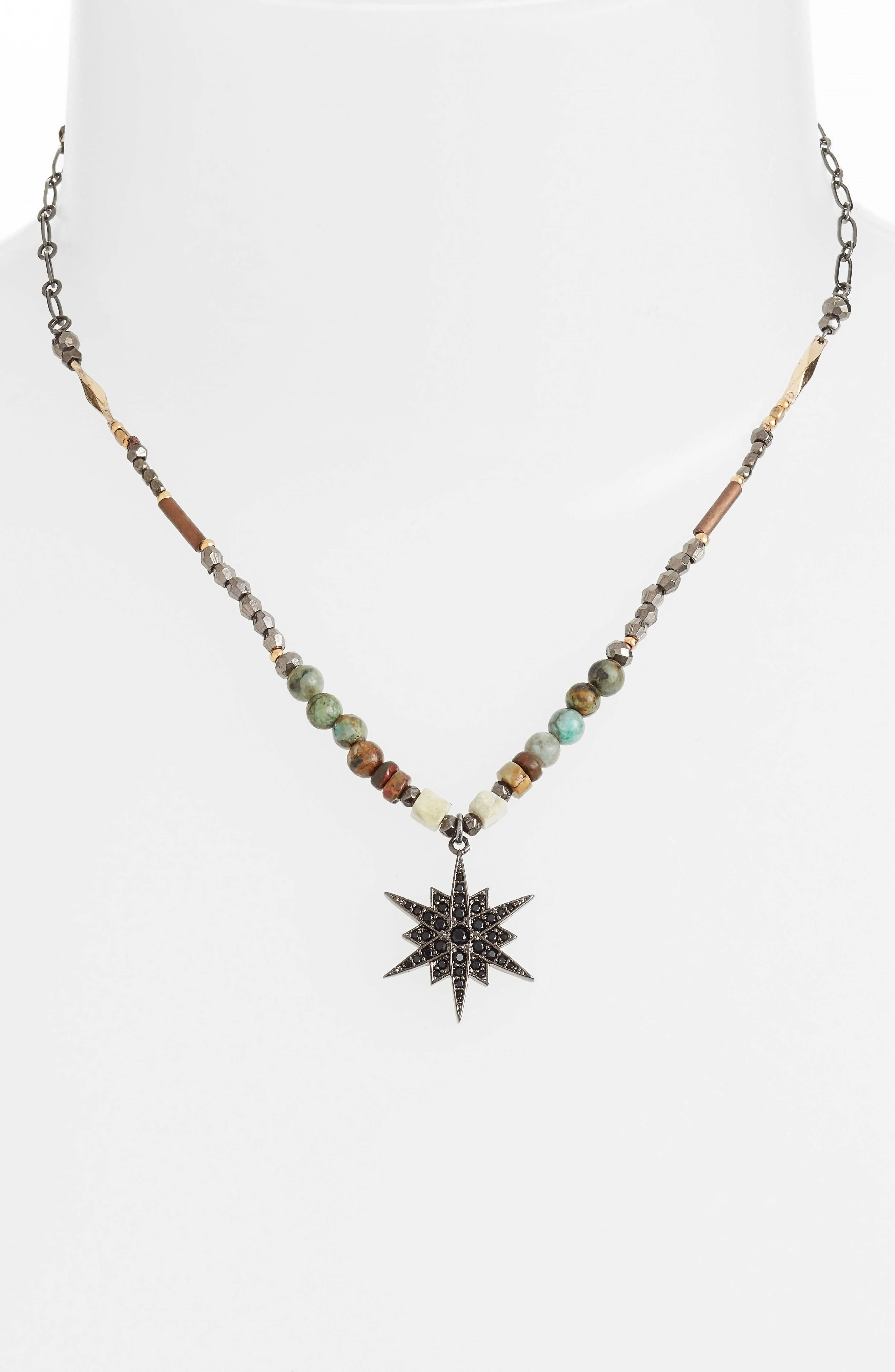 Star Pendant Beaded Necklace,                             Alternate thumbnail 4, color,