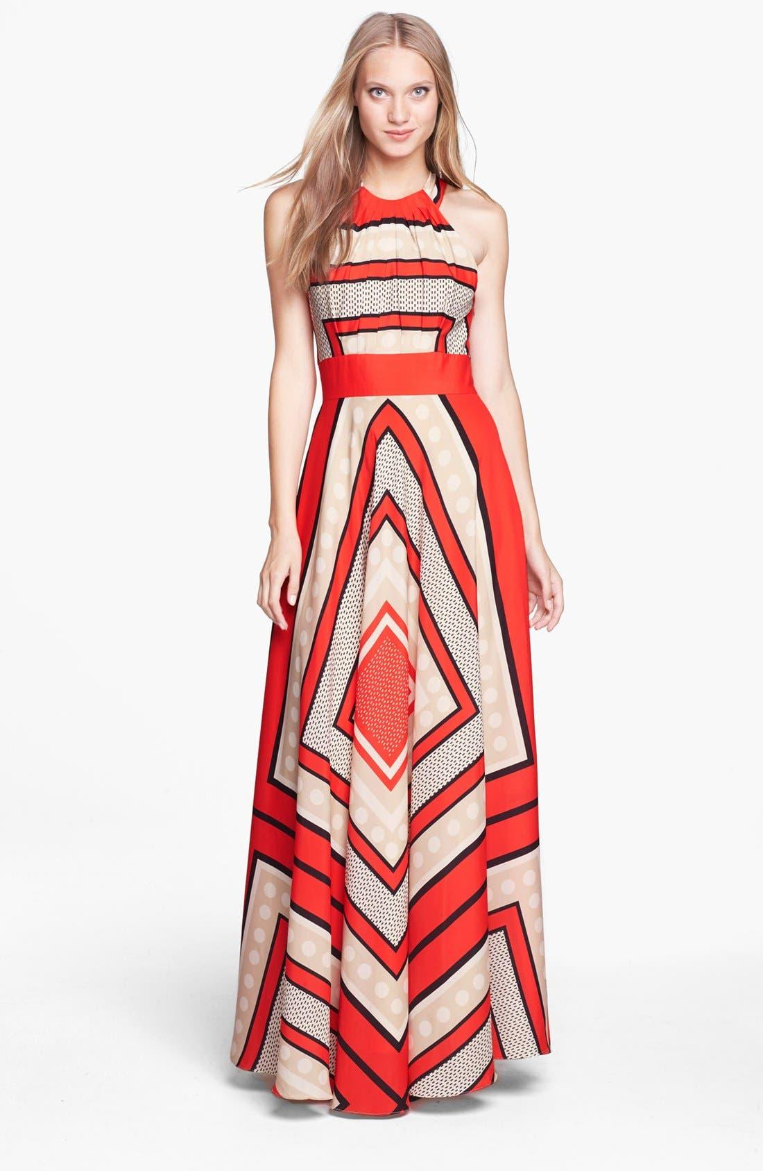 Scarf Print Crêpe de Chine Fit & Flare Maxi Dress,                         Main,                         color, 800