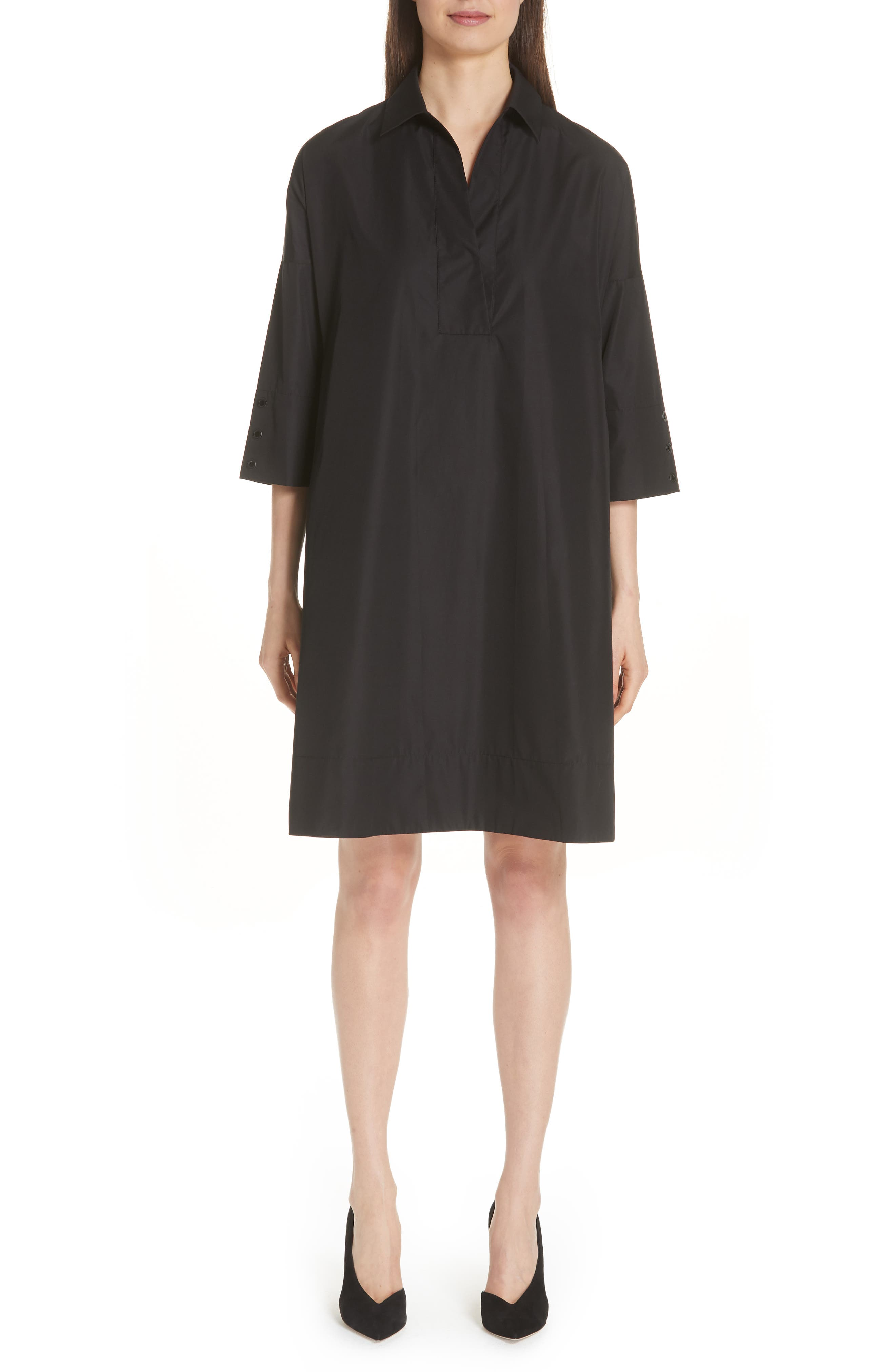 Eyelet Detail Cotton Dress,                             Main thumbnail 1, color,                             BLACK