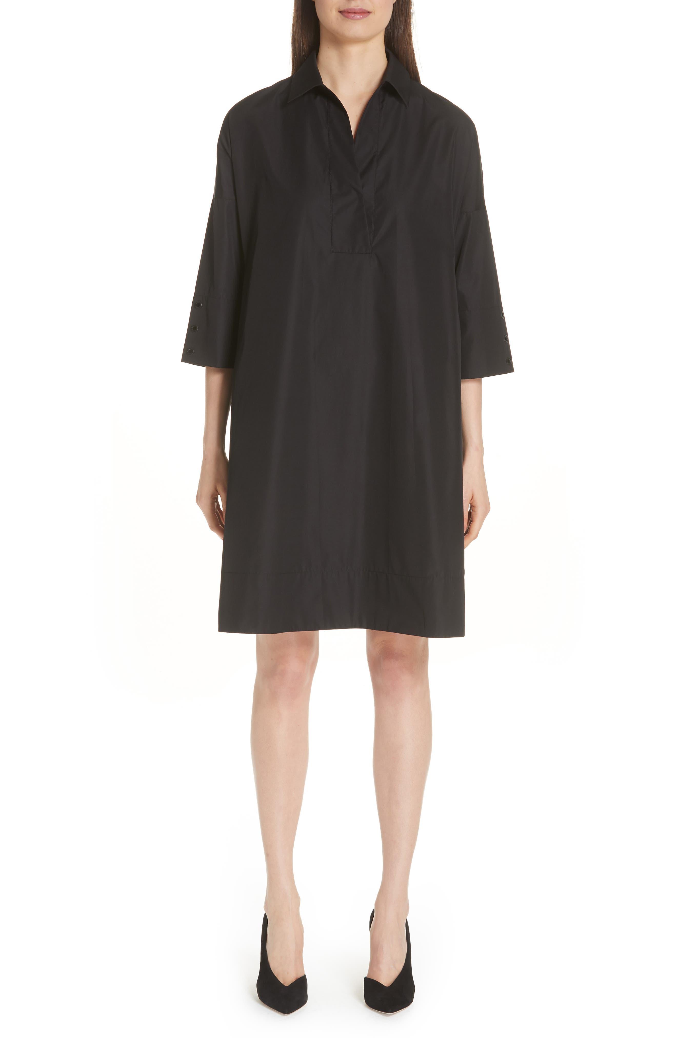 Eyelet Detail Cotton Dress,                         Main,                         color, BLACK