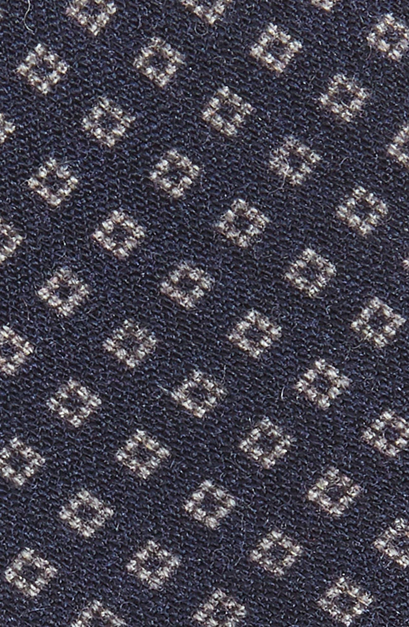 Neat Wool Skinny Tie,                             Alternate thumbnail 2, color,                             NAVY