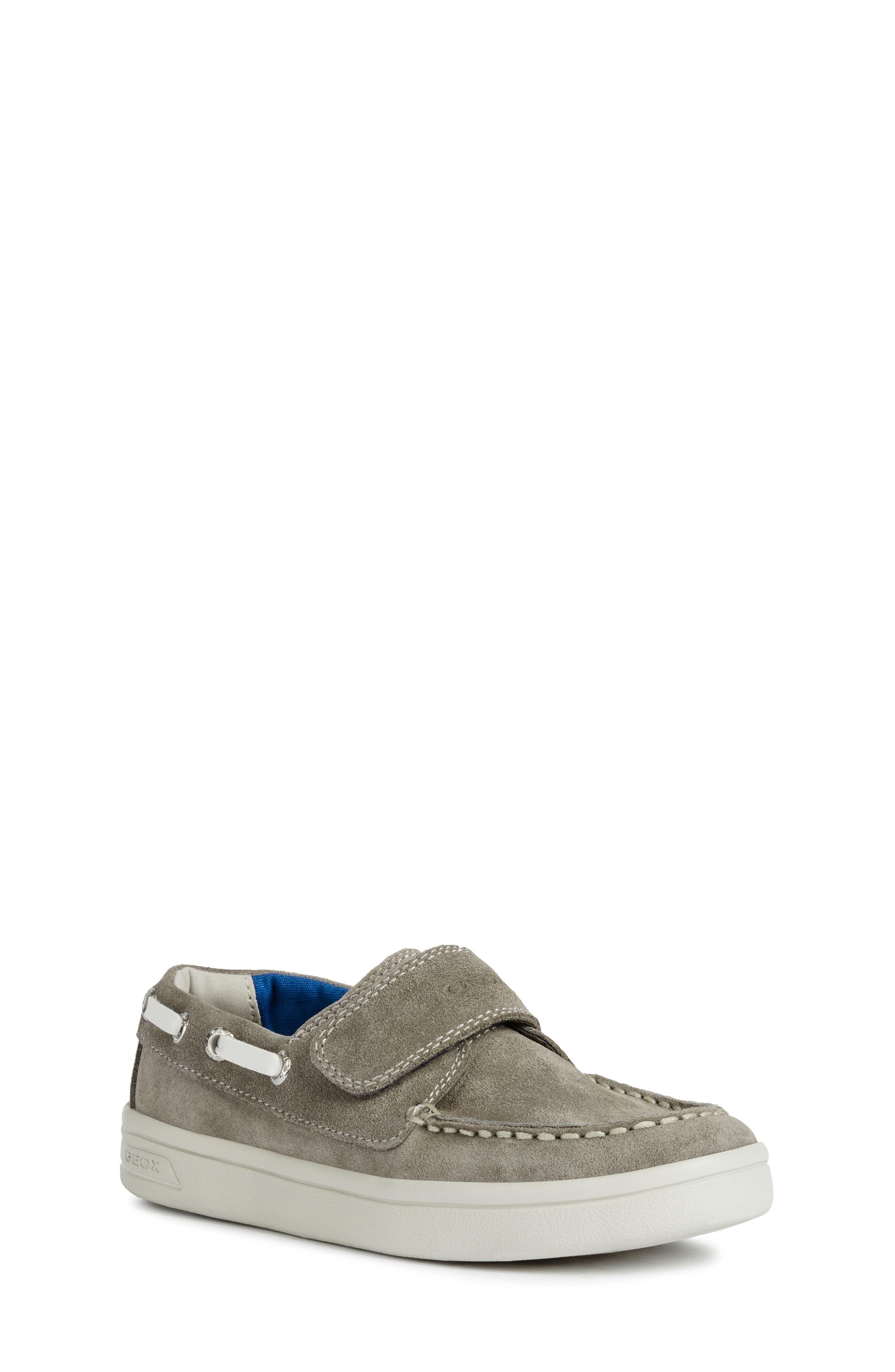 GEOX DJ Rock Boat Shoe, Main, color, GREY/ WHITE