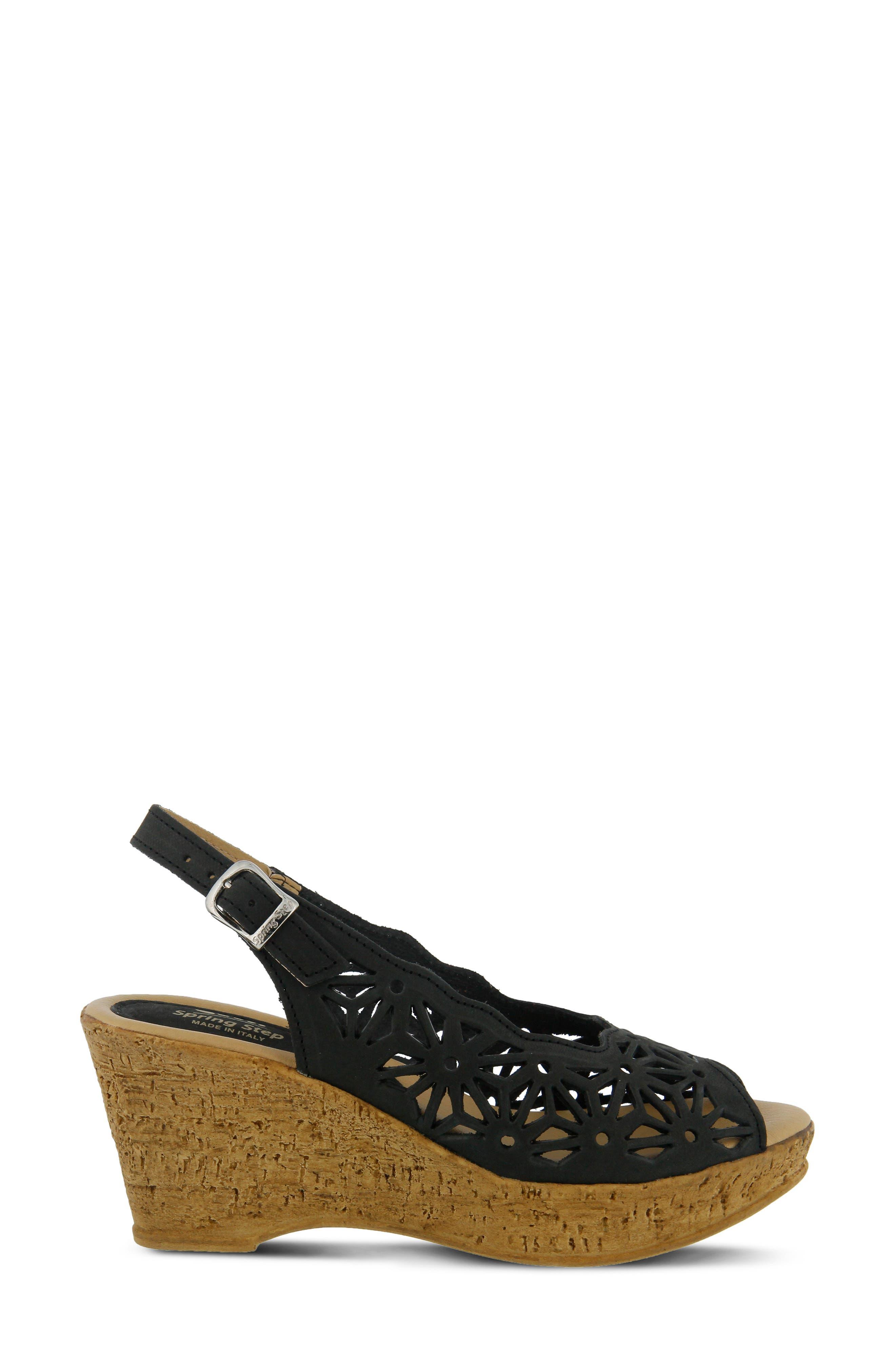 SPRING STEP,                             Abigail Platform Wedge Sandal,                             Alternate thumbnail 2, color,                             BLACK LEATHER