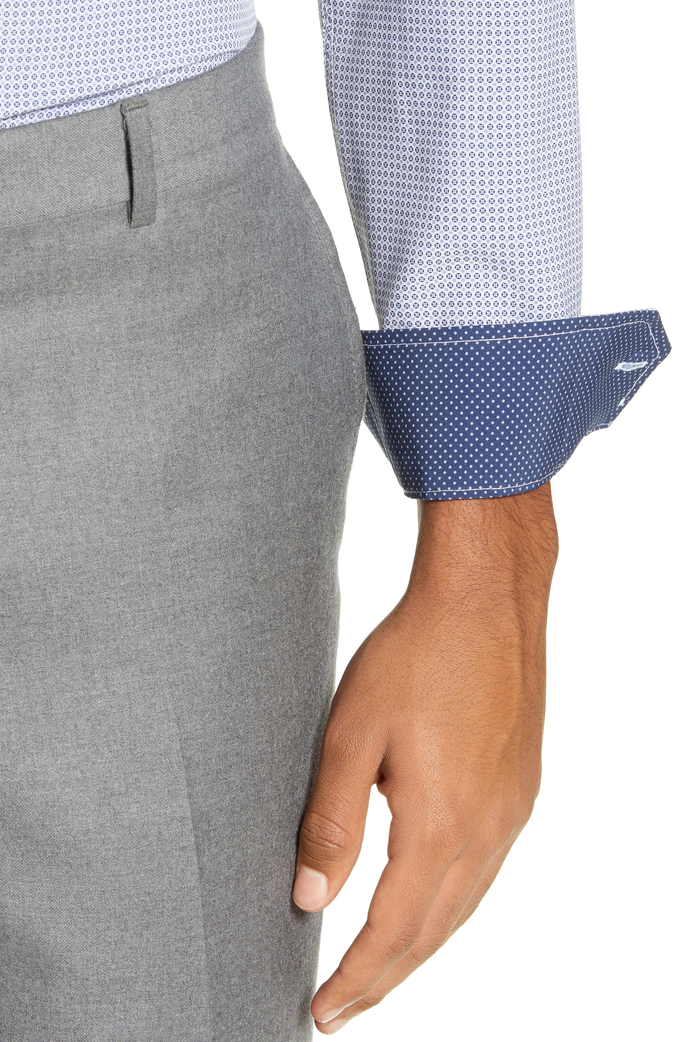 Trim Fit 4-Way Stretch Geometric Dress Shirt,                             Alternate thumbnail 2, color,                             400