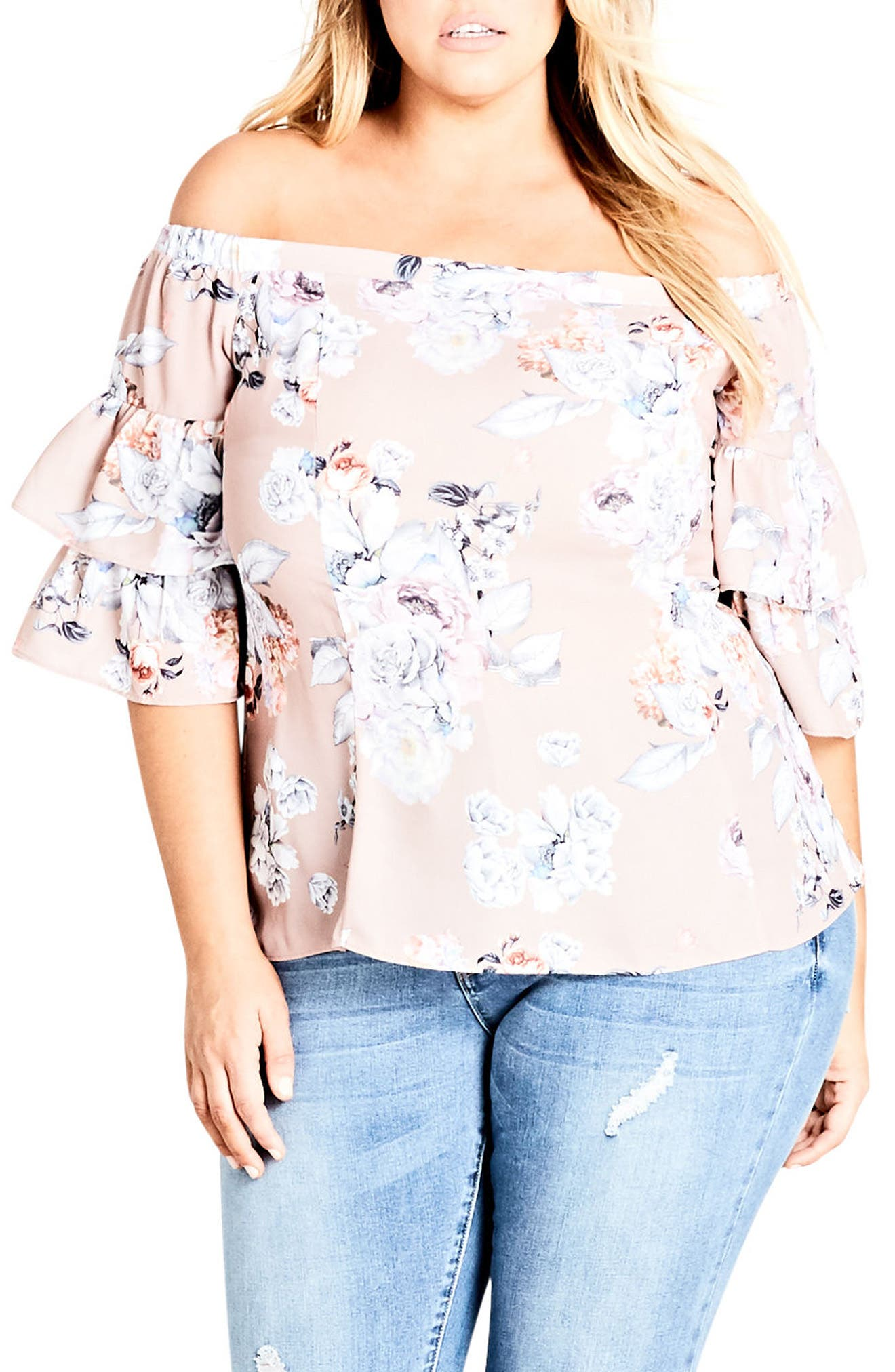Floral Print Off the Shoulder Top,                             Main thumbnail 1, color,                             PAPER FLORAL