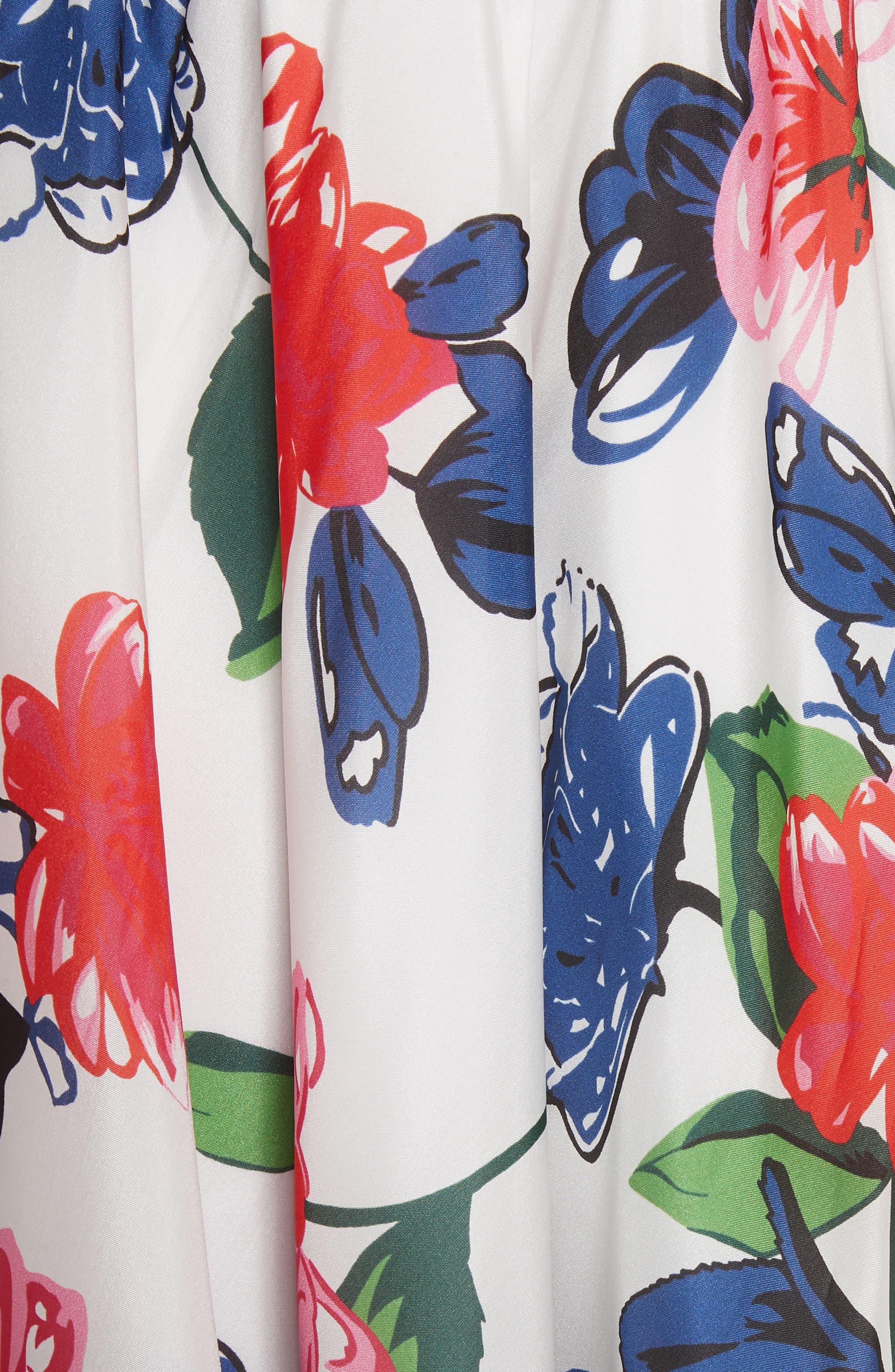 Floral Print Double Keyhole Silk Dress,                             Alternate thumbnail 5, color,                             MULTI