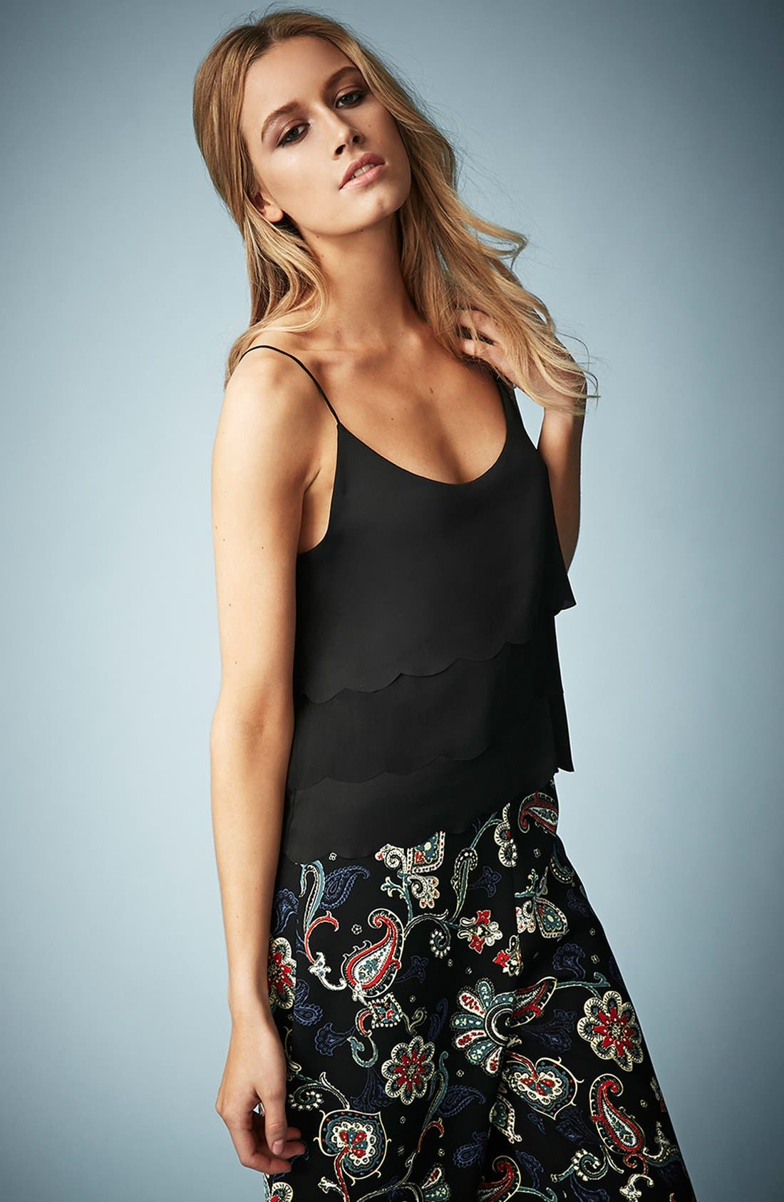 TOPSHOP,                             Kate Moss for Topshop Scalloped Camisole,                             Main thumbnail 1, color,                             001